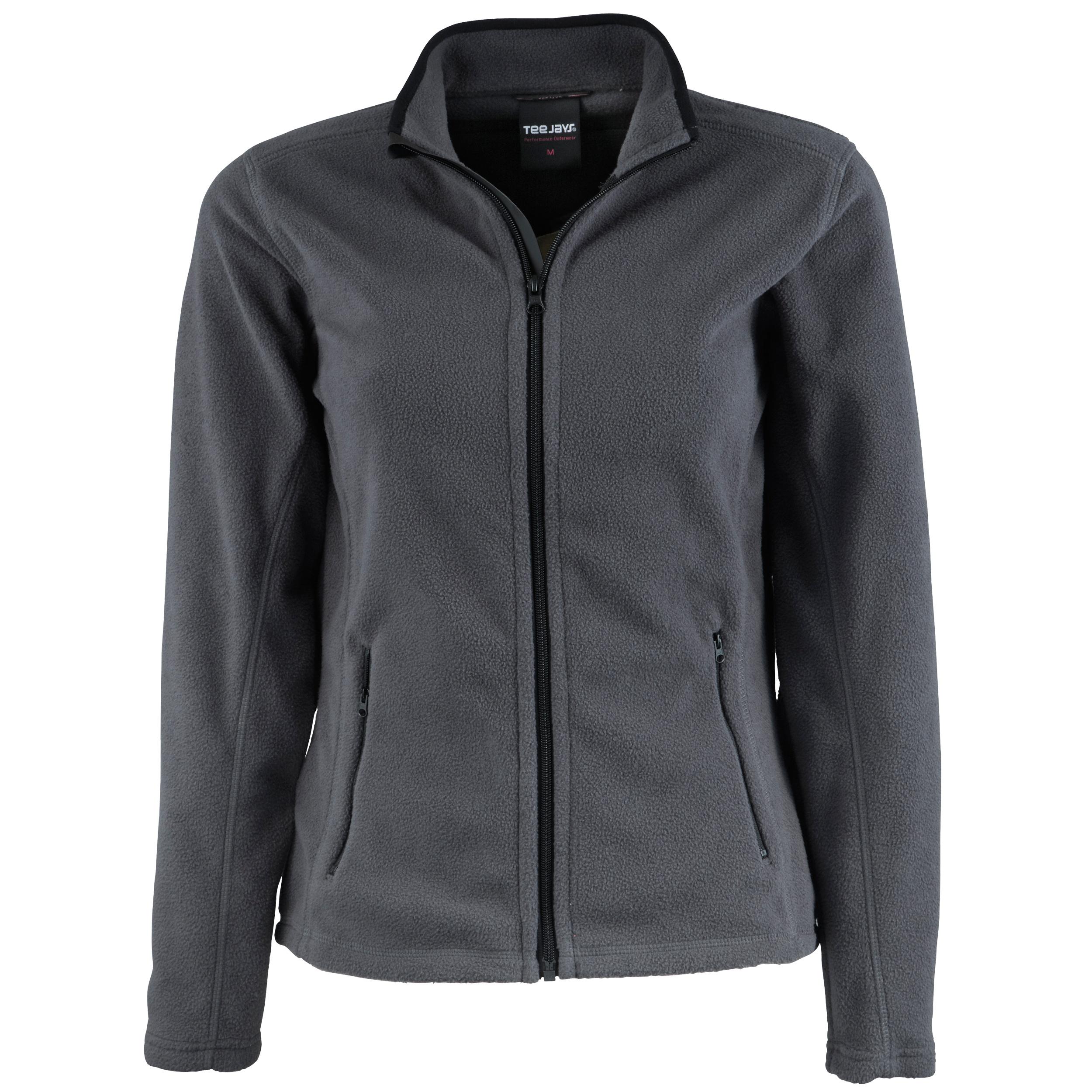 Tee Jays Womens/Ladies Full Zip Active Lightweight Fleece Jacket (L) (Dark Grey)