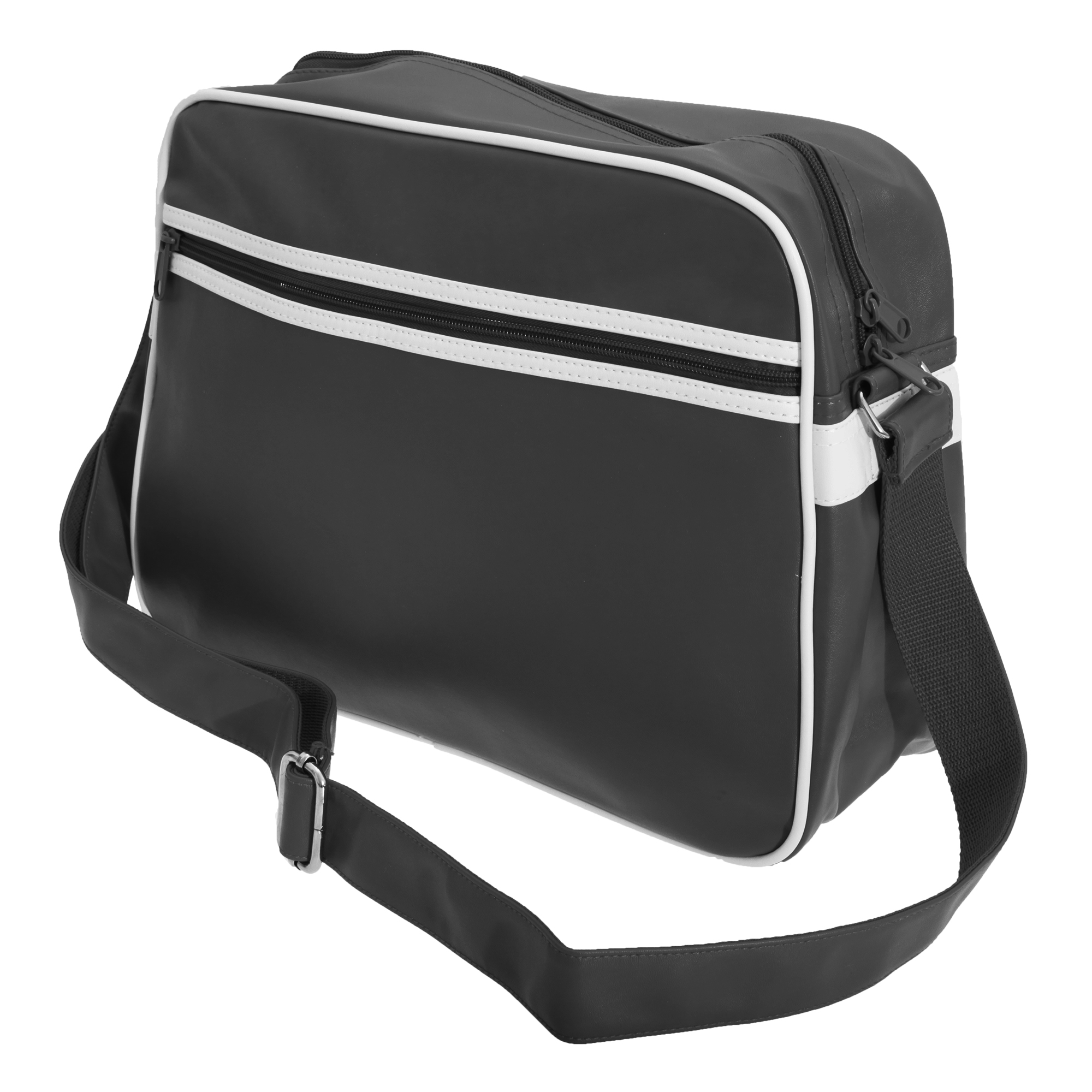 Bagbase Original Retro Shoulder Strap Messenger Bag (One Size) (Black/White)