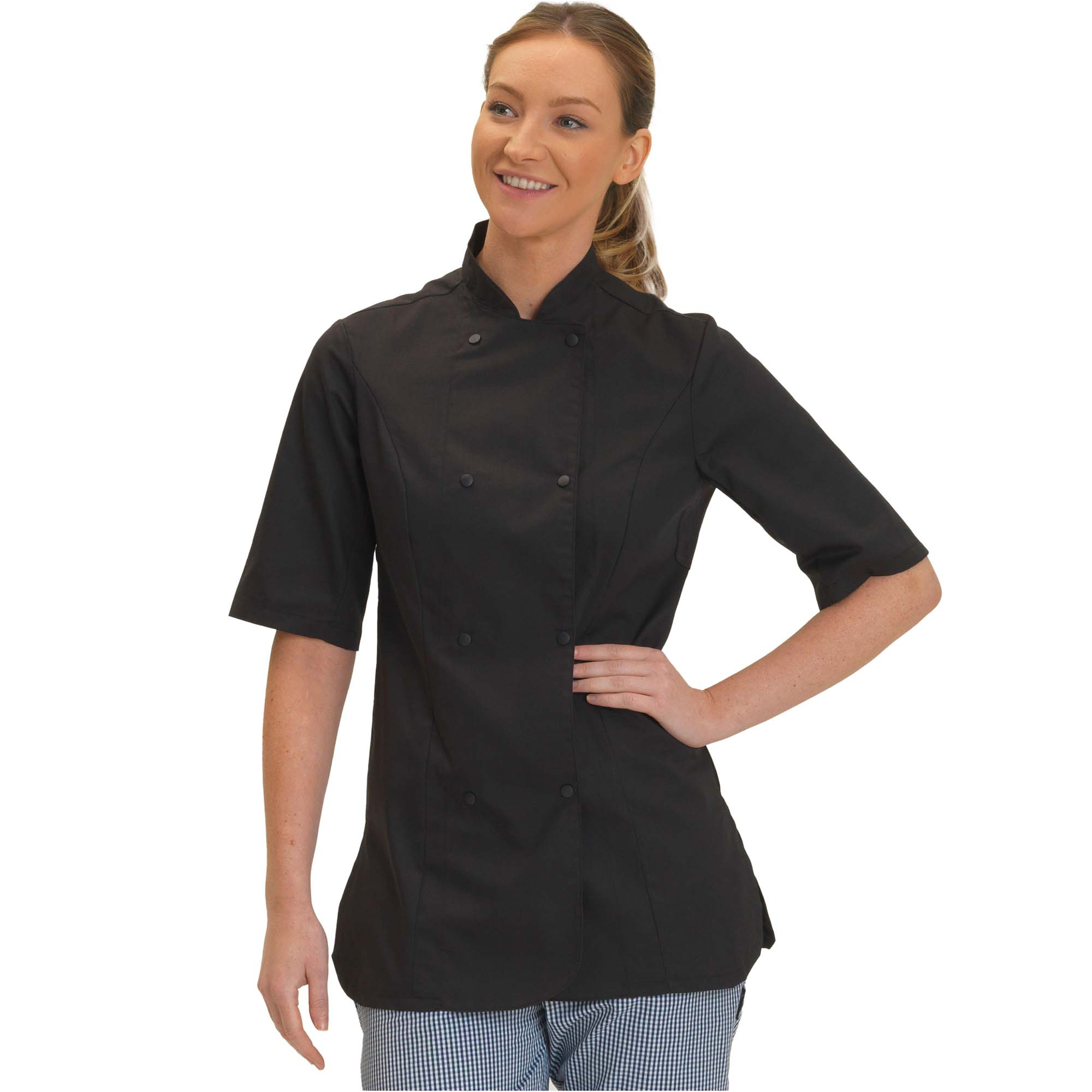 Dennys Womens/Ladies Short Sleeve Fitted Chef Jacket (3XL) (Black)