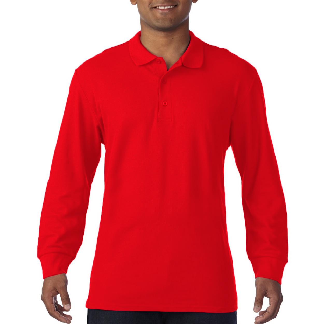 Gildan-Mens-Long-Sleeve-Double-Pique-Cotton-Polo-Shirt-BC3485 thumbnail 15