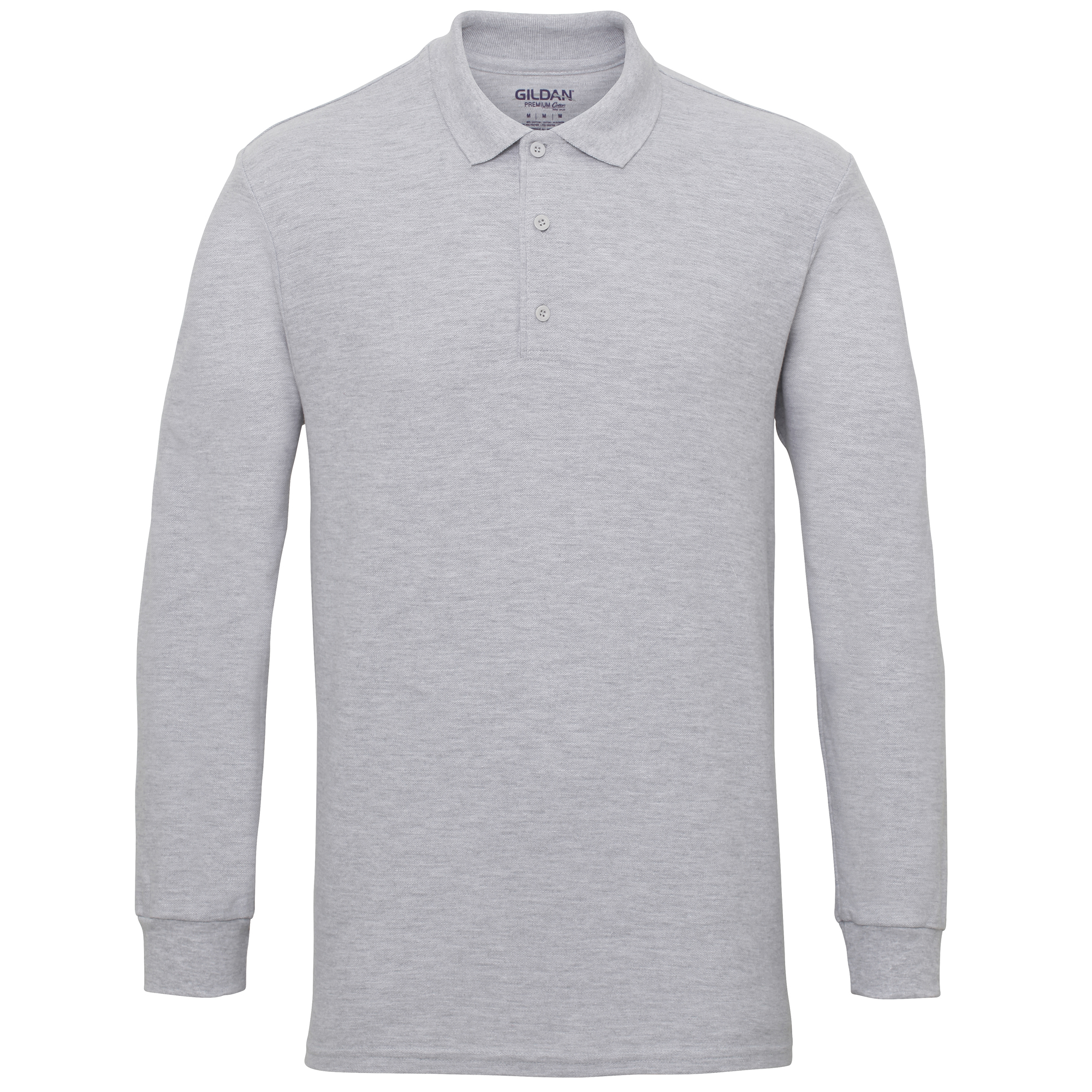 Gildan-Mens-Long-Sleeve-Double-Pique-Cotton-Polo-Shirt-BC3485 thumbnail 9