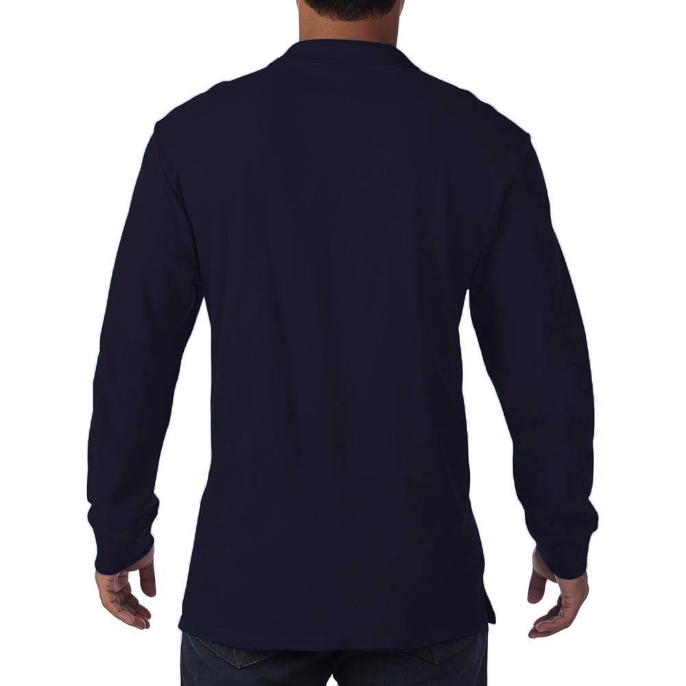 Gildan-Mens-Long-Sleeve-Double-Pique-Cotton-Polo-Shirt-BC3485 thumbnail 7