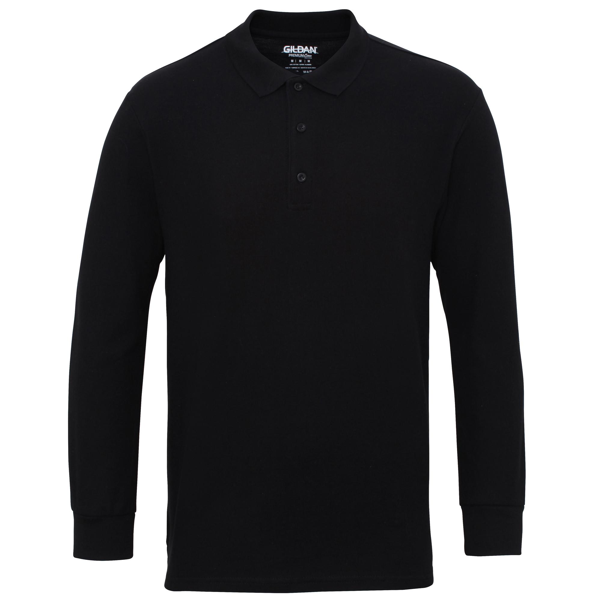Gildan-Mens-Long-Sleeve-Double-Pique-Cotton-Polo-Shirt-BC3485 thumbnail 8
