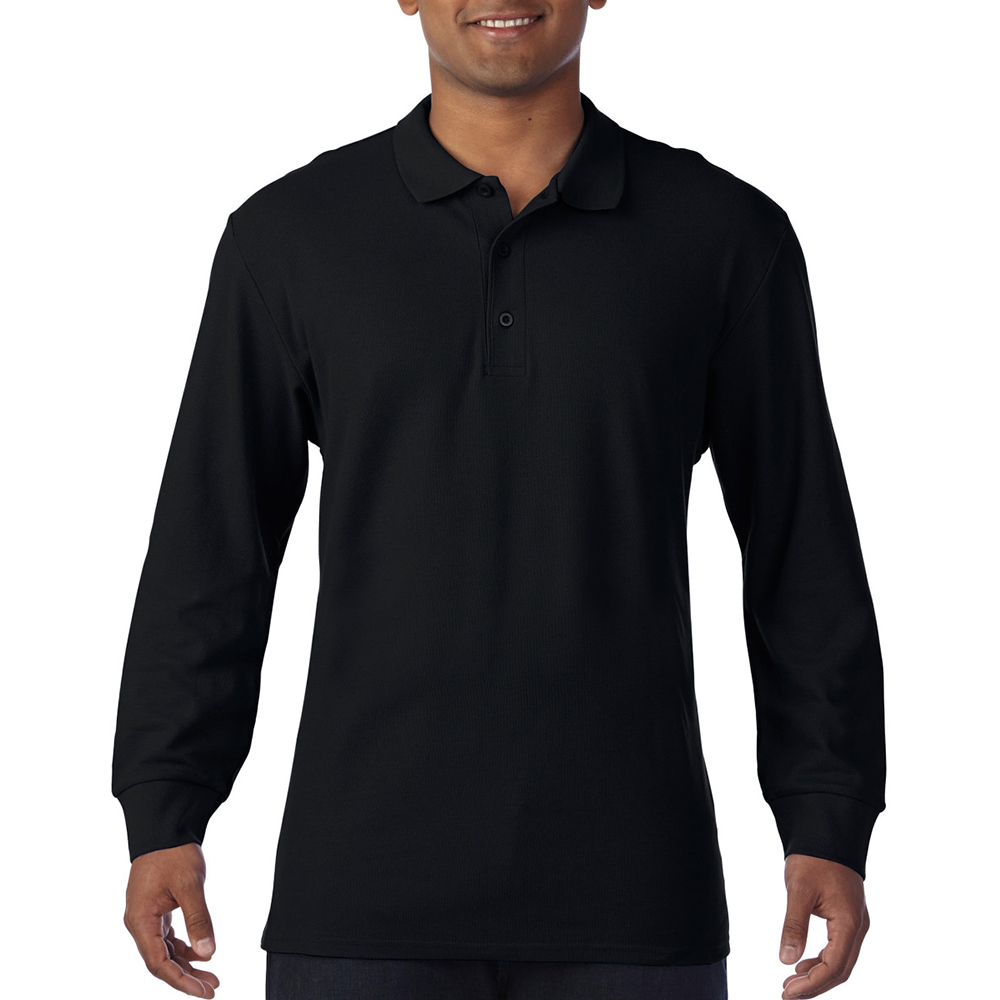 Gildan-Mens-Long-Sleeve-Double-Pique-Cotton-Polo-Shirt-BC3485 thumbnail 3