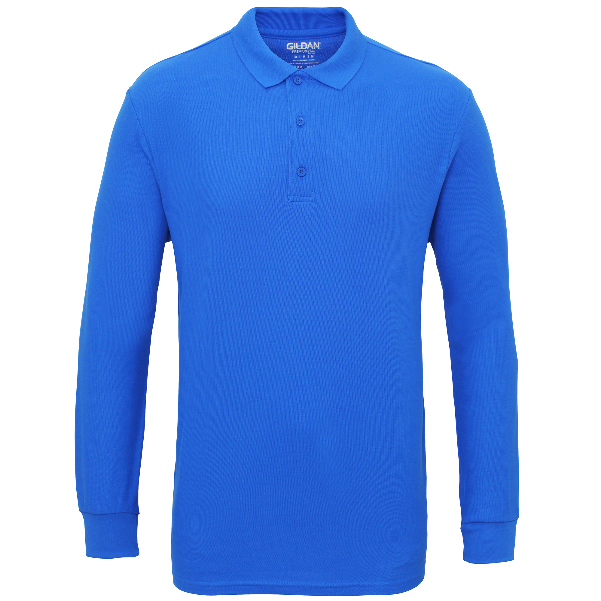 Gildan-Mens-Long-Sleeve-Double-Pique-Cotton-Polo-Shirt-BC3485 thumbnail 5