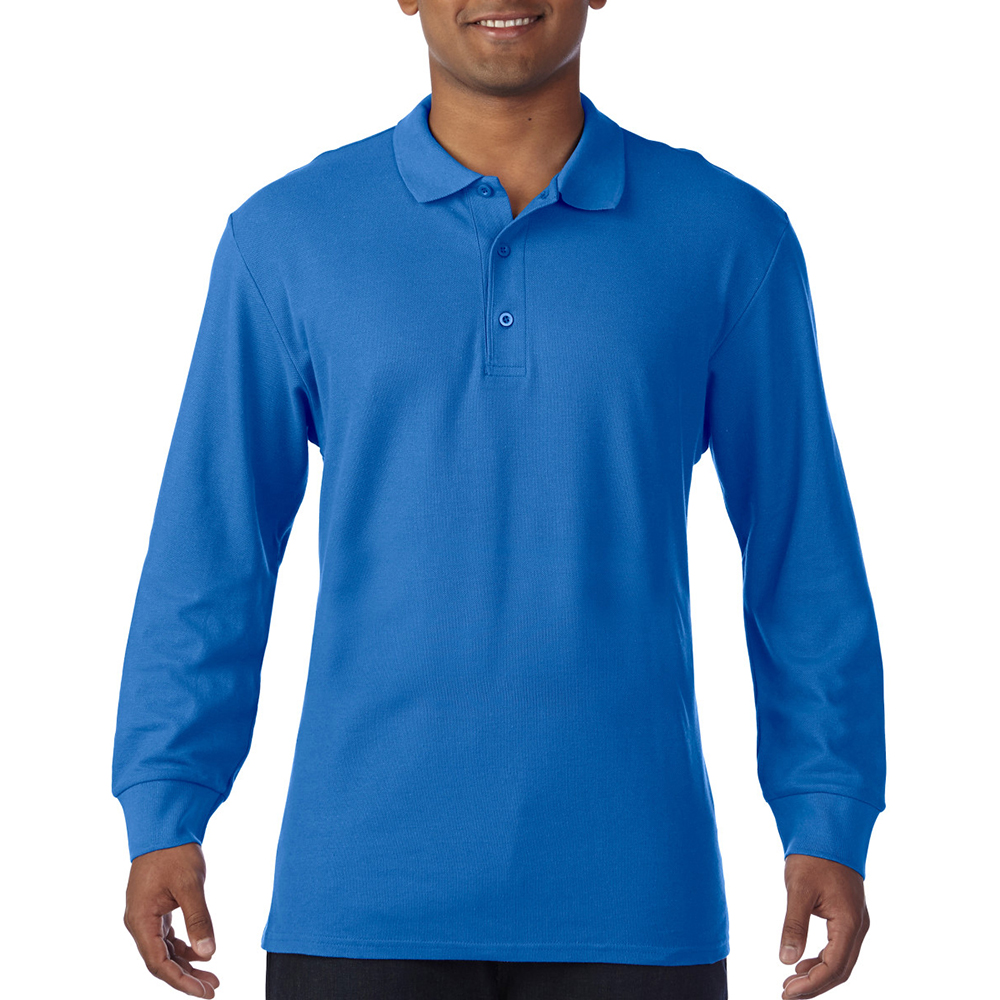 Gildan-Mens-Long-Sleeve-Double-Pique-Cotton-Polo-Shirt-BC3485 thumbnail 11
