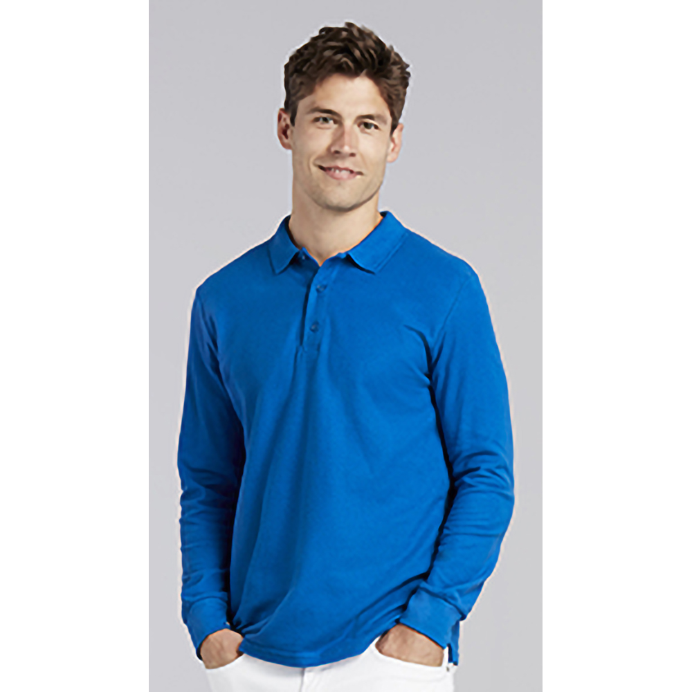 Gildan-Mens-Long-Sleeve-Double-Pique-Cotton-Polo-Shirt-BC3485 thumbnail 13