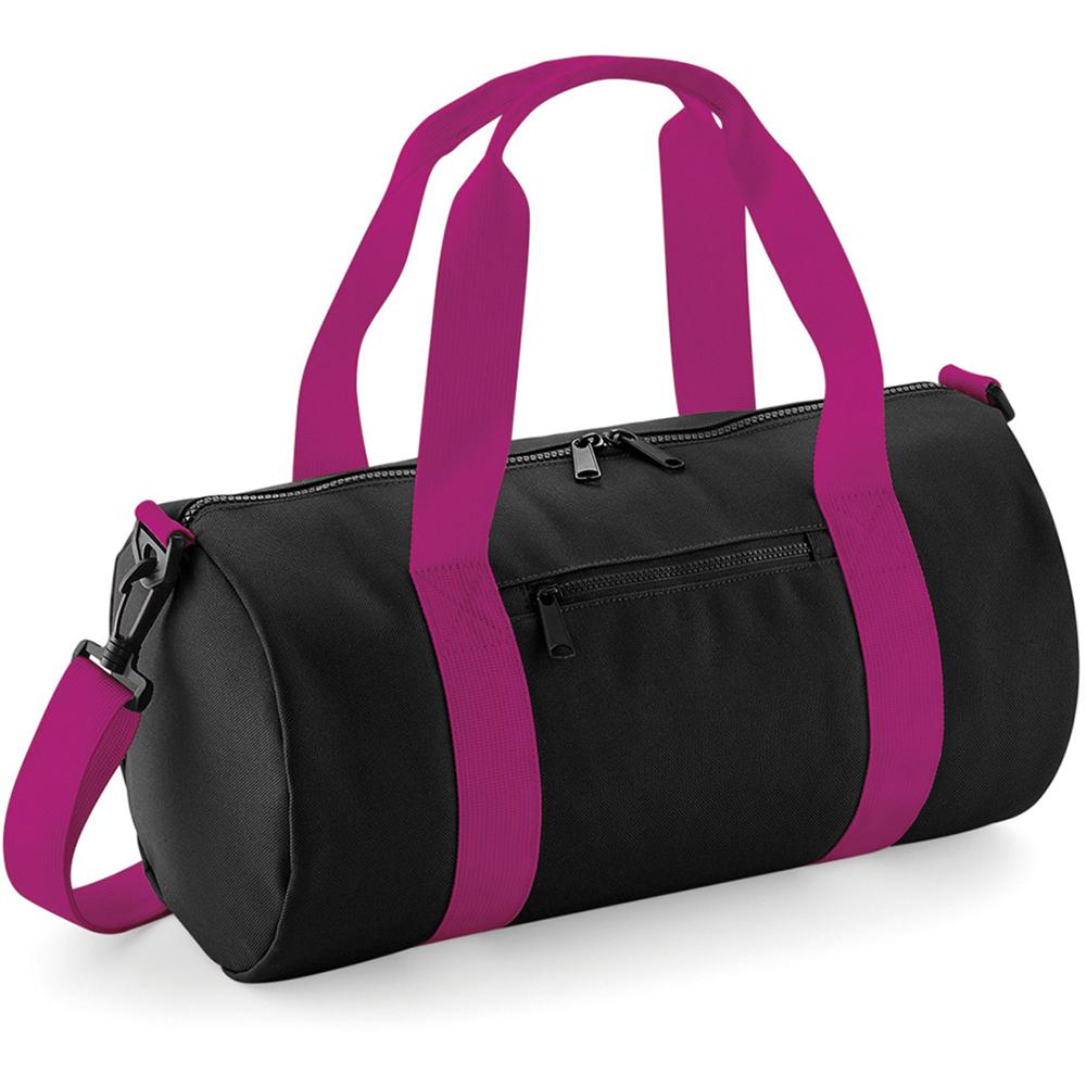 Bagbase Mini Barrel Shoulder Bag (One Size) (Classic Pink/White)