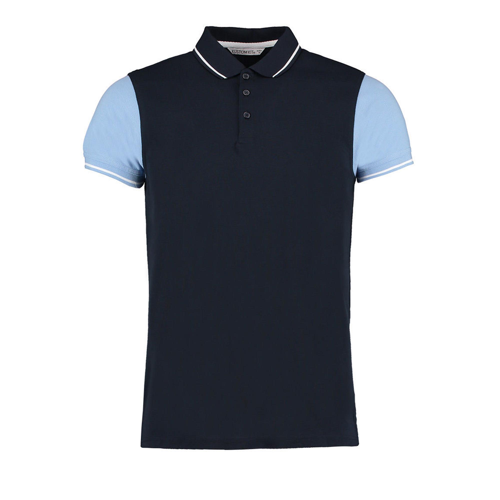 Kustom-Kit-Mens-Two-Tone-Contrast-Tipped-Polo-Shirt-BC3728