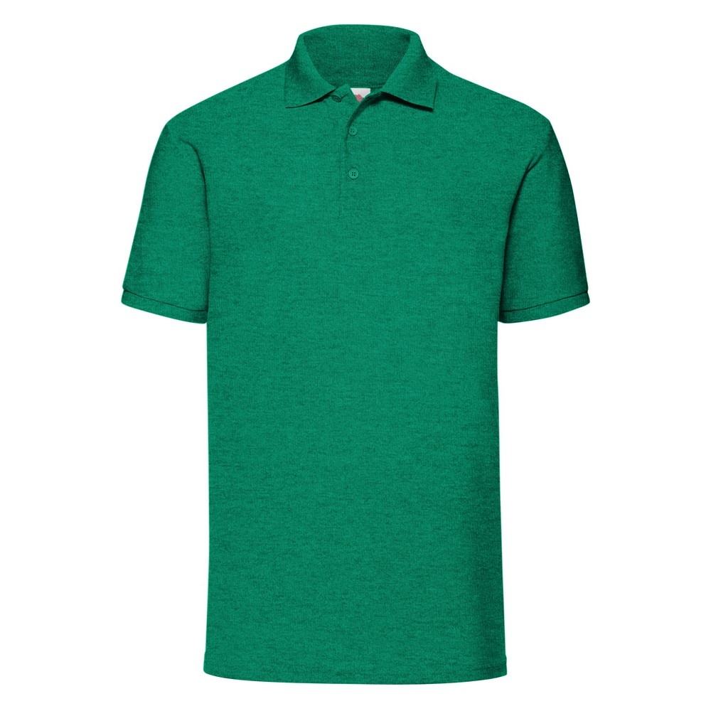 Fruit Of The Loom Mens 65/35 Pique Short Sleeve Polo Shirt (S) (Heather Green)