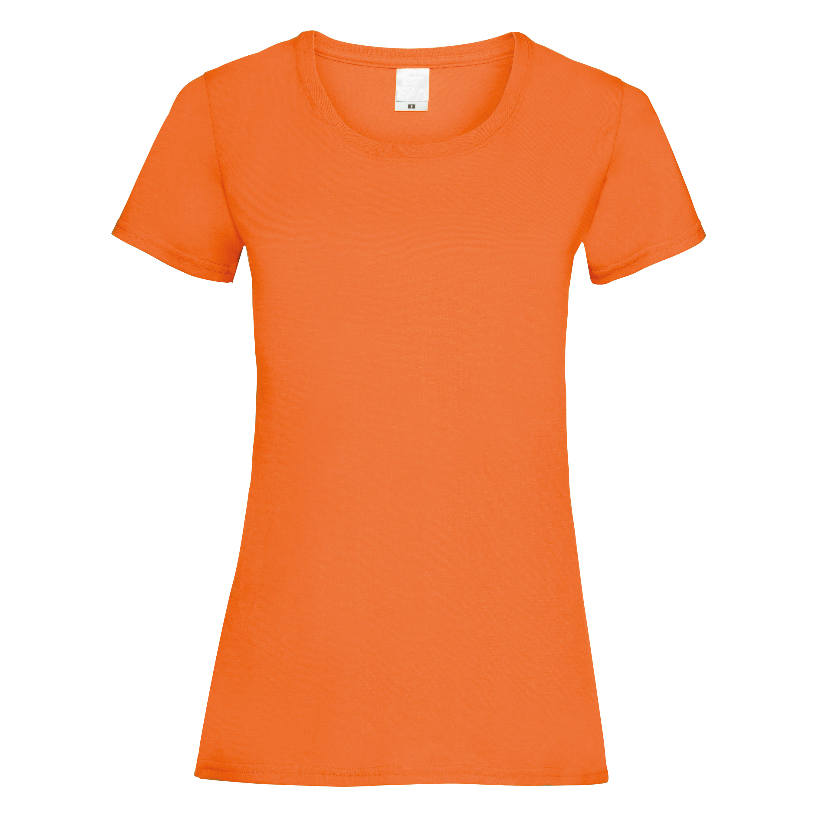 Womens/Ladies Value Fitted Short Sleeve Casual T-Shirt (Large) (Bright Orange)