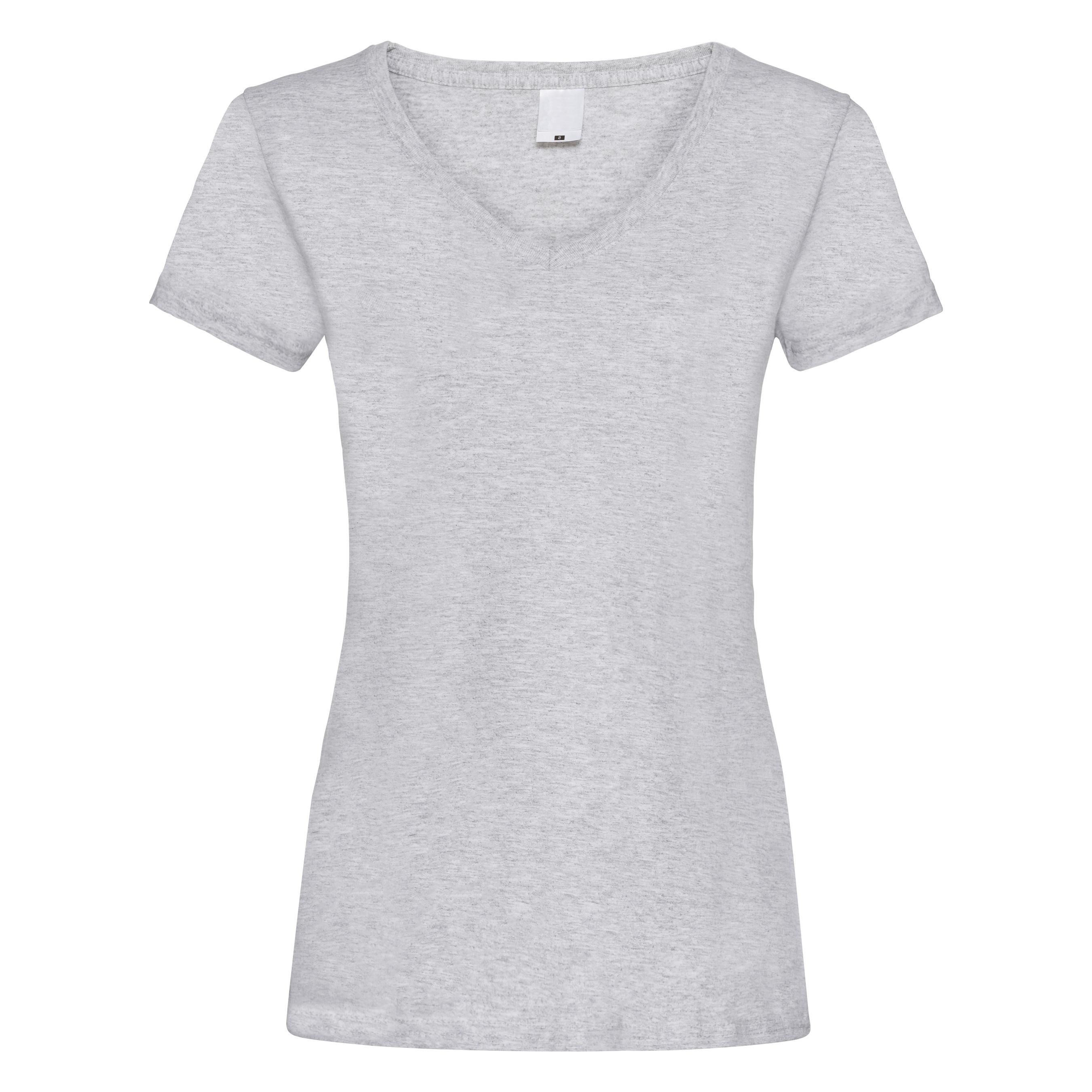 Womens/Ladies Value Fitted V-Neck Short Sleeve Casual T-Shirt (Medium) (Grey Marl)