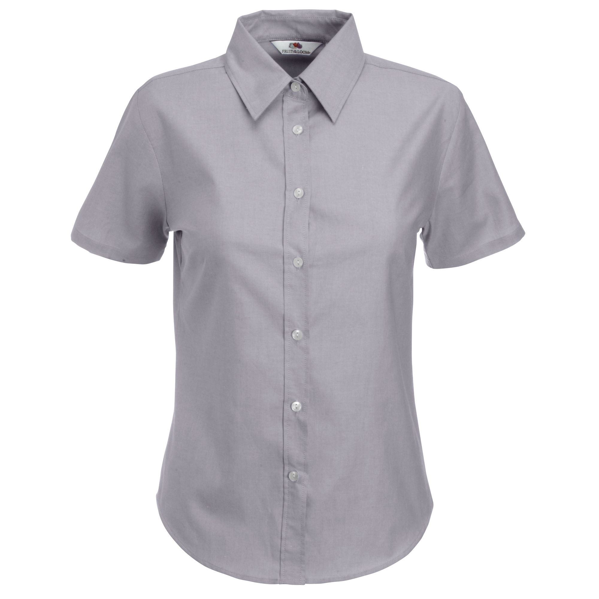Fruit Of The Loom Ladies Lady-Fit Short Sleeve Oxford Shirt (S) (Oxford Grey)