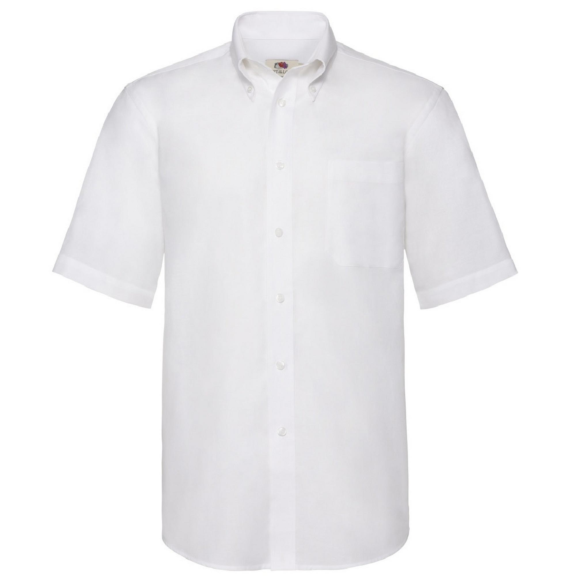 Fruit Of The Loom Mens Short Sleeve Oxford Shirt (L) (White)