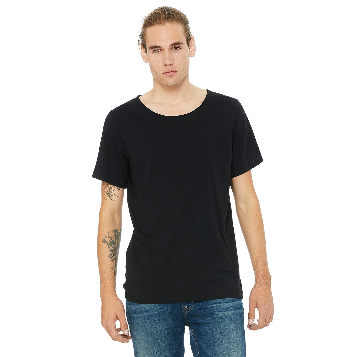 Canvas-Mens-Jersey-Raw-Neck-Tee-BC4029 thumbnail 3