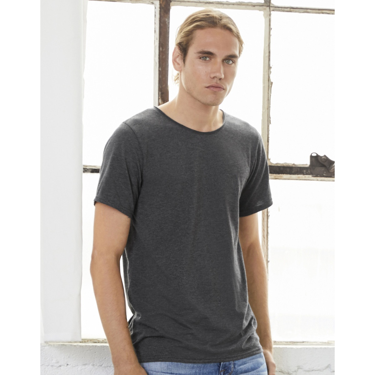 Canvas-Mens-Jersey-Raw-Neck-Tee-BC4029 thumbnail 5