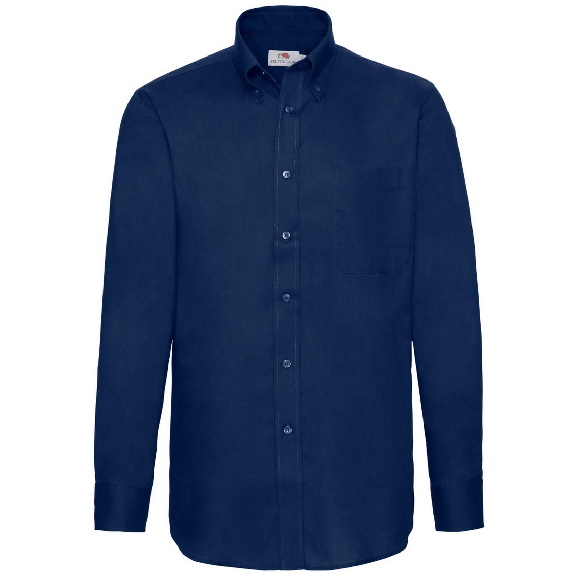 Fruit Of The Loom Mens Long Sleeve Oxford Shirt (XL) (Navy)