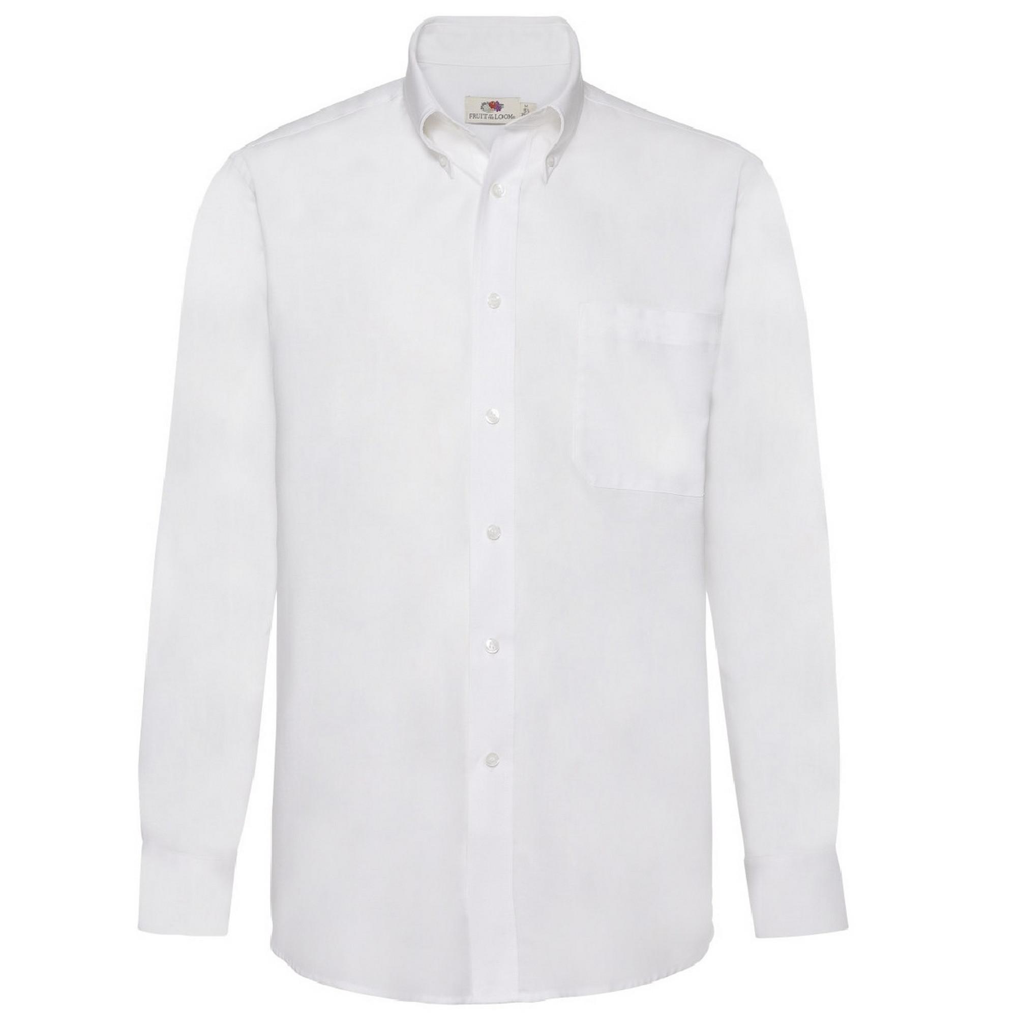 Fruit Of The Loom Mens Long Sleeve Oxford Shirt (M) (White)