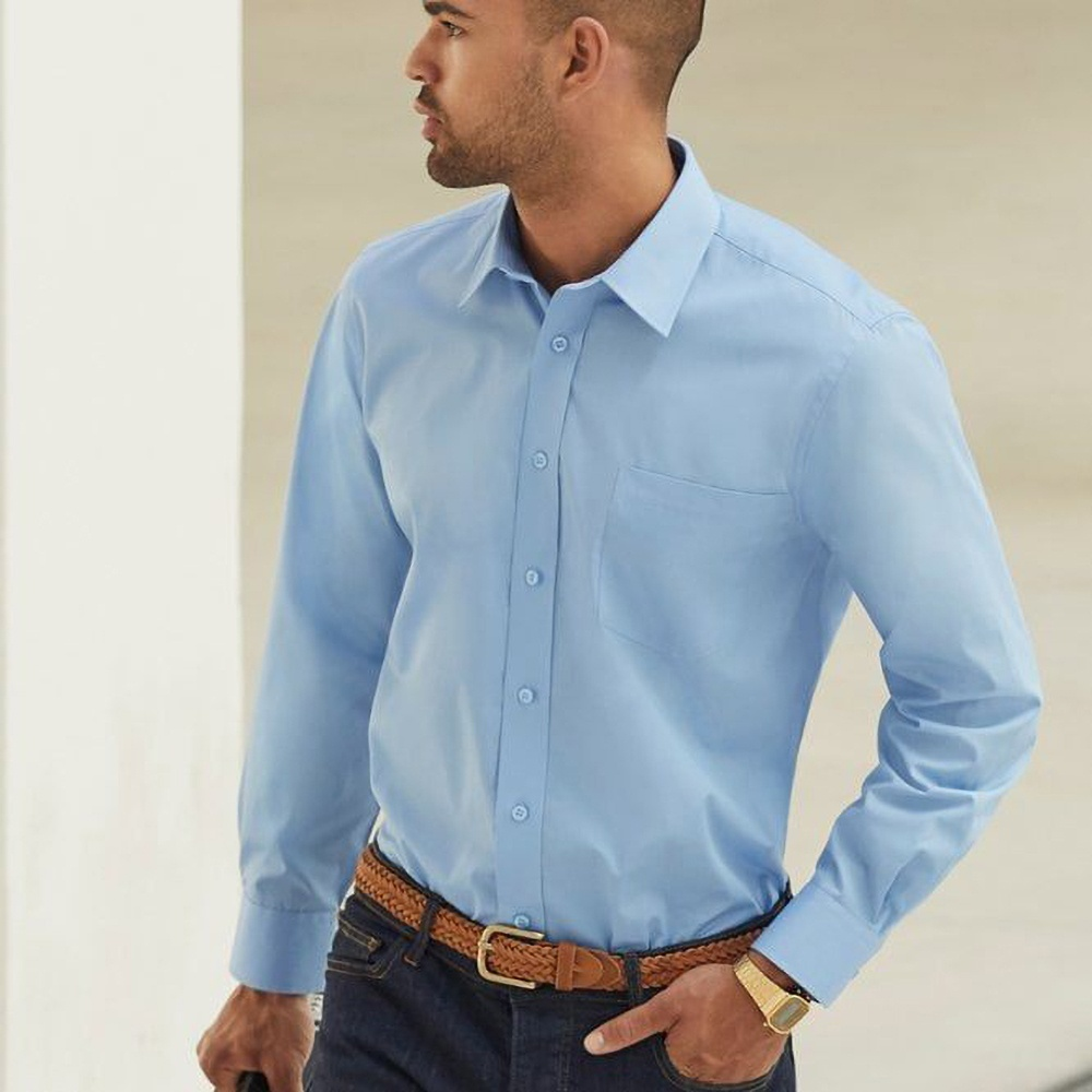Fruit Of The Loom Mens Long Sleeve Poplin Shirt (S) (Mid Blue)