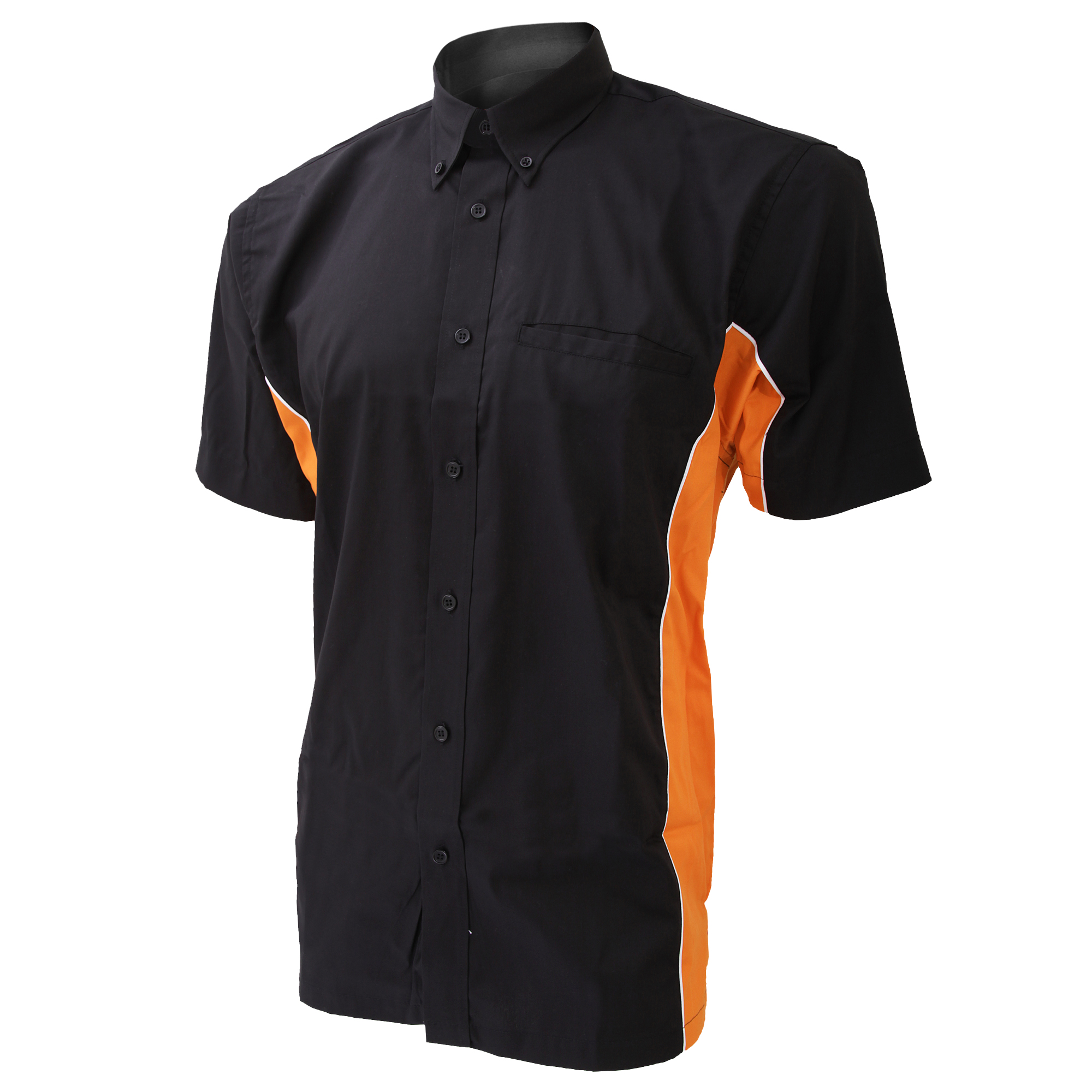 Gamegear Mens Sportsman Short Sleeve Shirt / Mens Sportswear (S) (Black/Orange/White)