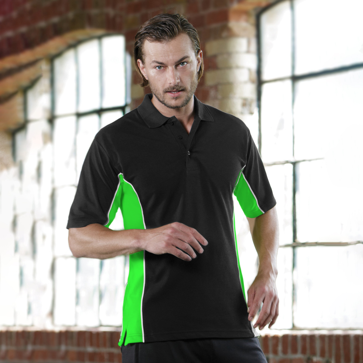 Gamegear® Mens Track Pique Short Sleeve Polo Shirt Top (M) (Black/Lime/White)