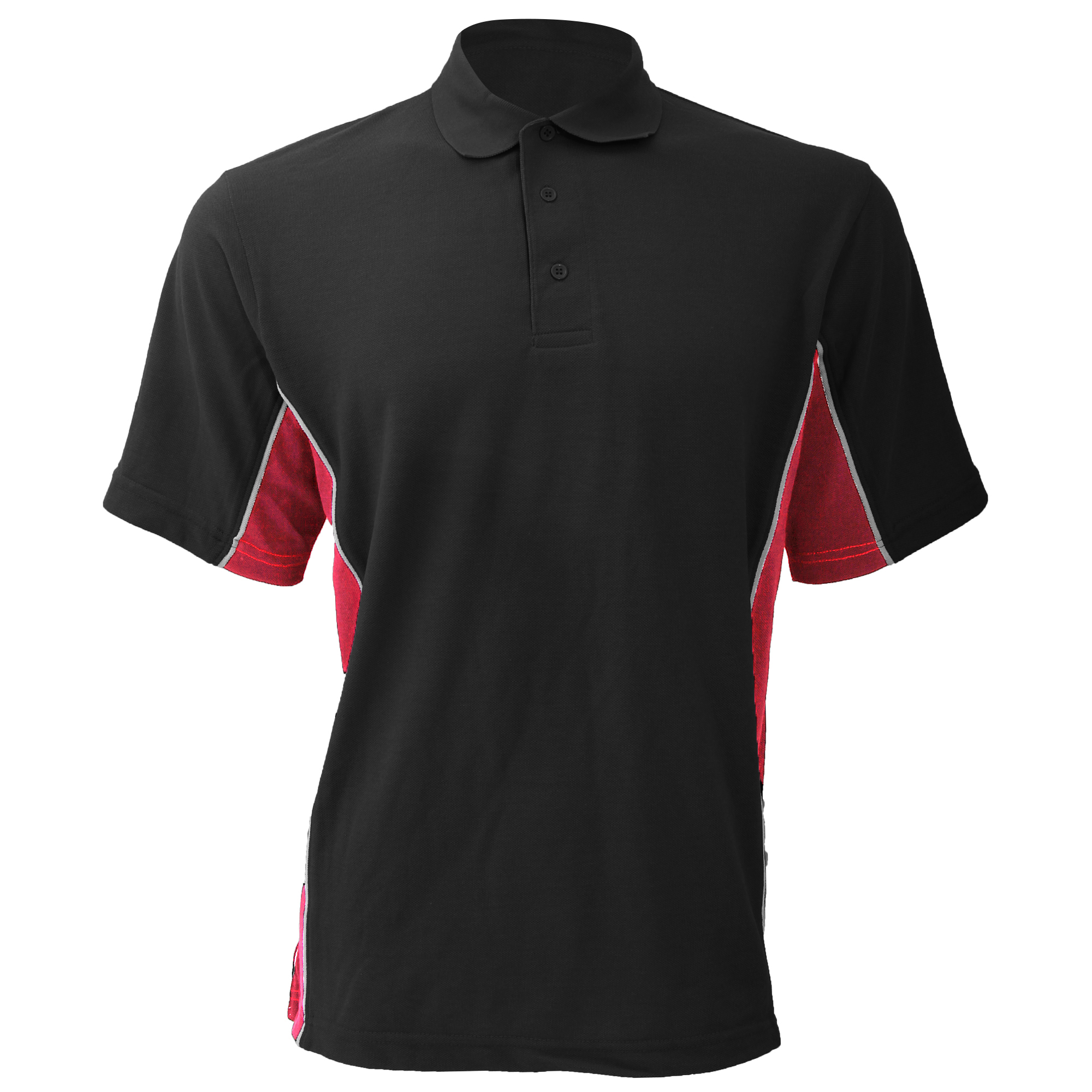 Gamegear® Mens Track Pique Short Sleeve Polo Shirt Top (S) (Black/Red/White)