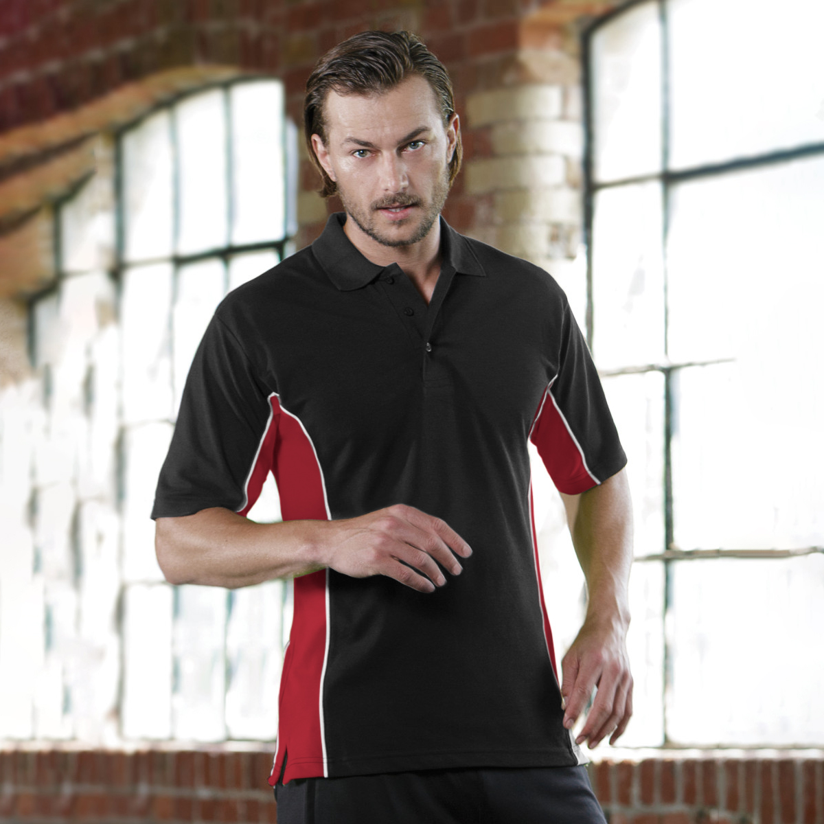 Gamegear® Mens Track Pique Short Sleeve Polo Shirt Top (XL) (Black/Gold/White)