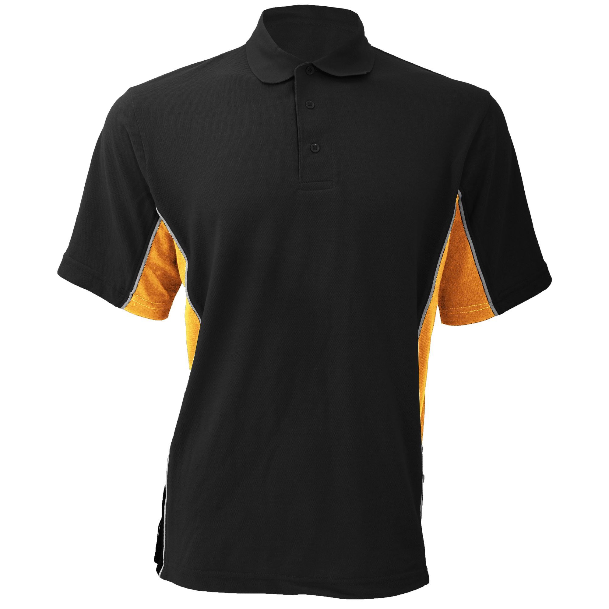 Gamegear® Mens Track Pique Short Sleeve Polo Shirt Top (XXS) (Black/Orange/White)