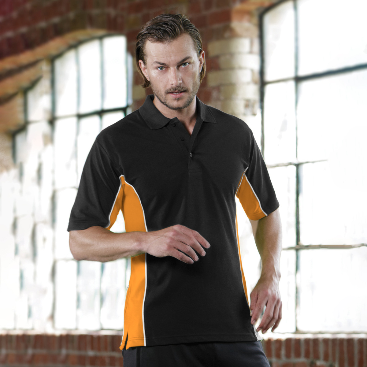 Gamegear® Mens Track Pique Short Sleeve Polo Shirt Top (2XL) (Black/Purple/White)