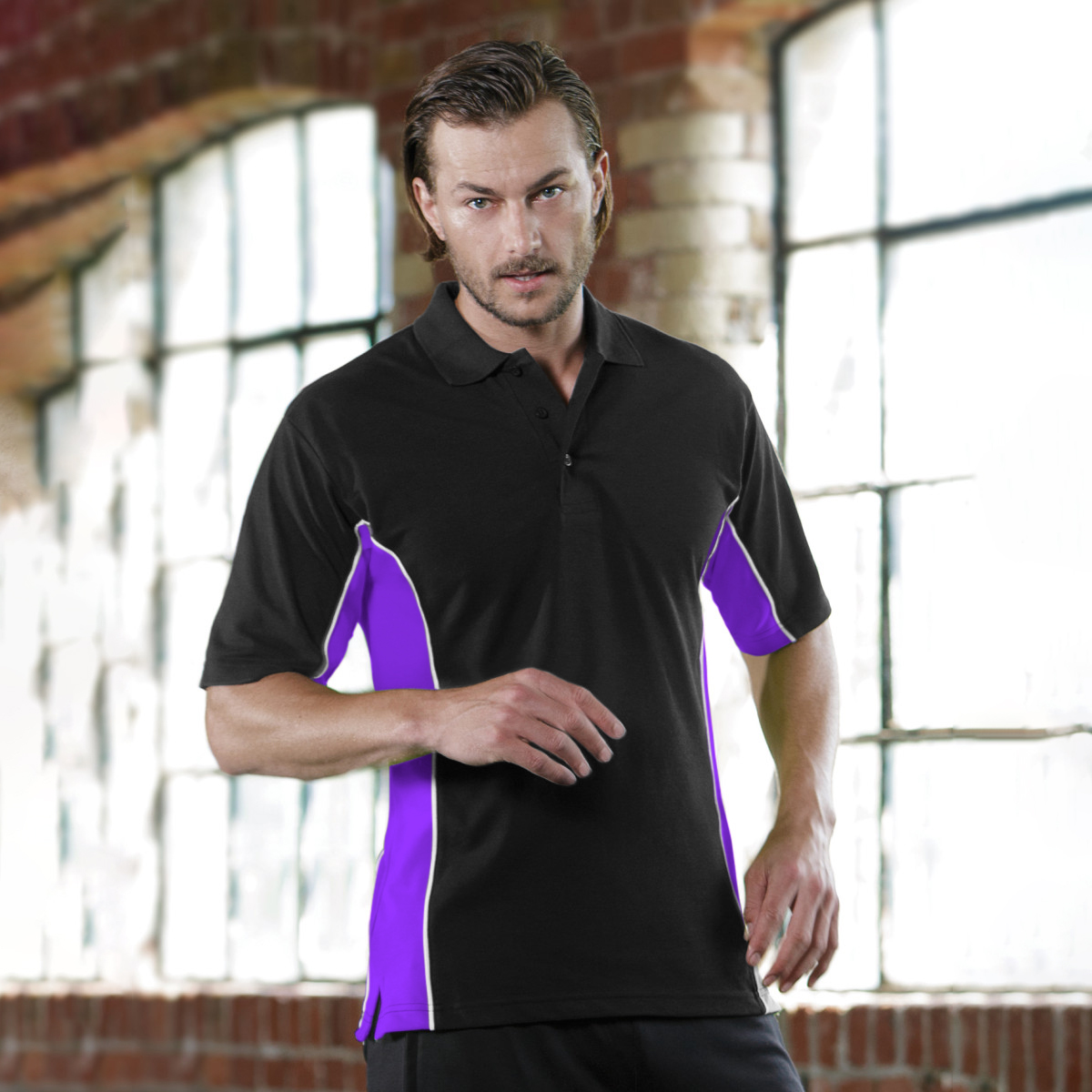 Gamegear® Mens Track Pique Short Sleeve Polo Shirt Top (3XL) (Black/Grey/White)