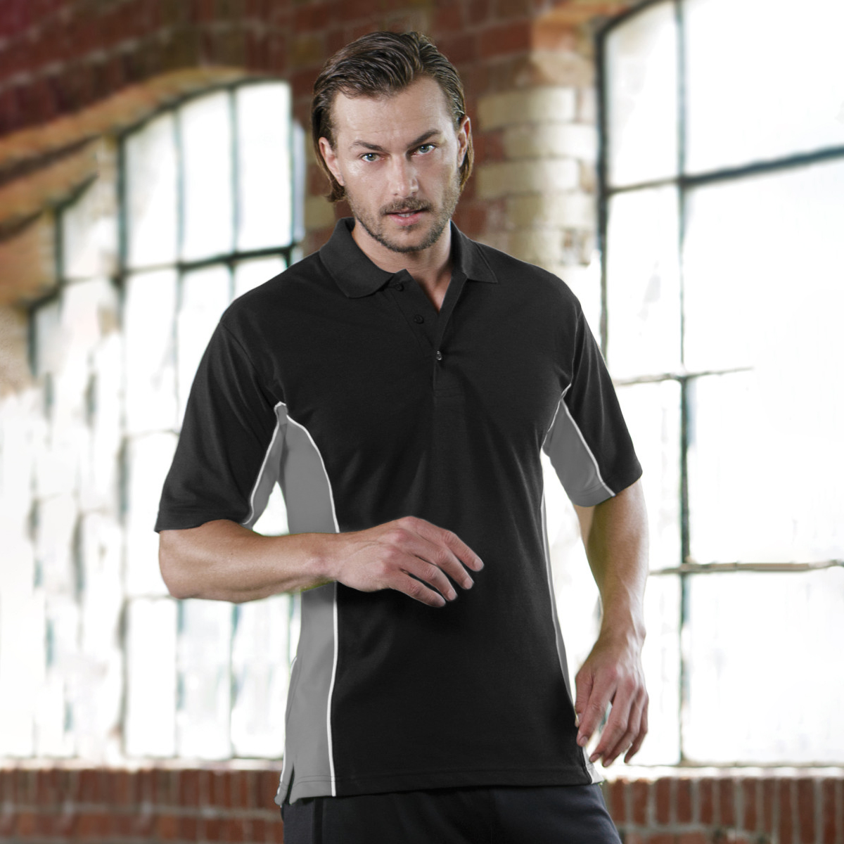 Gamegear® Mens Track Pique Short Sleeve Polo Shirt Top (S) (Navy/Red/White)