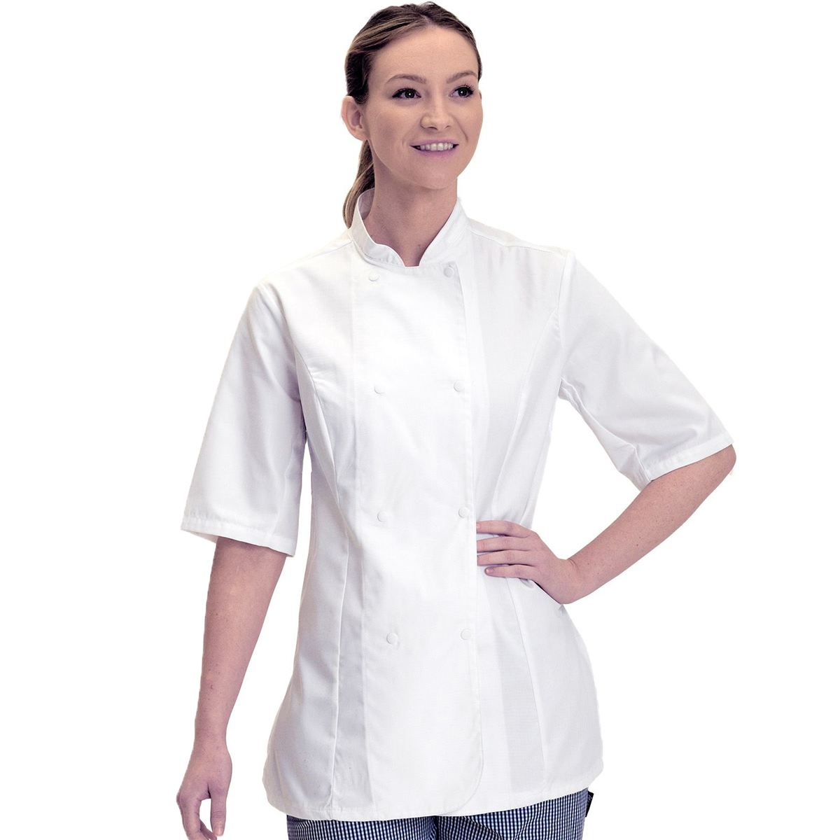 Dennys Womens/Ladies Short Sleeve Fitted Chef Jacket (Pack of 2) (XL) (Black)