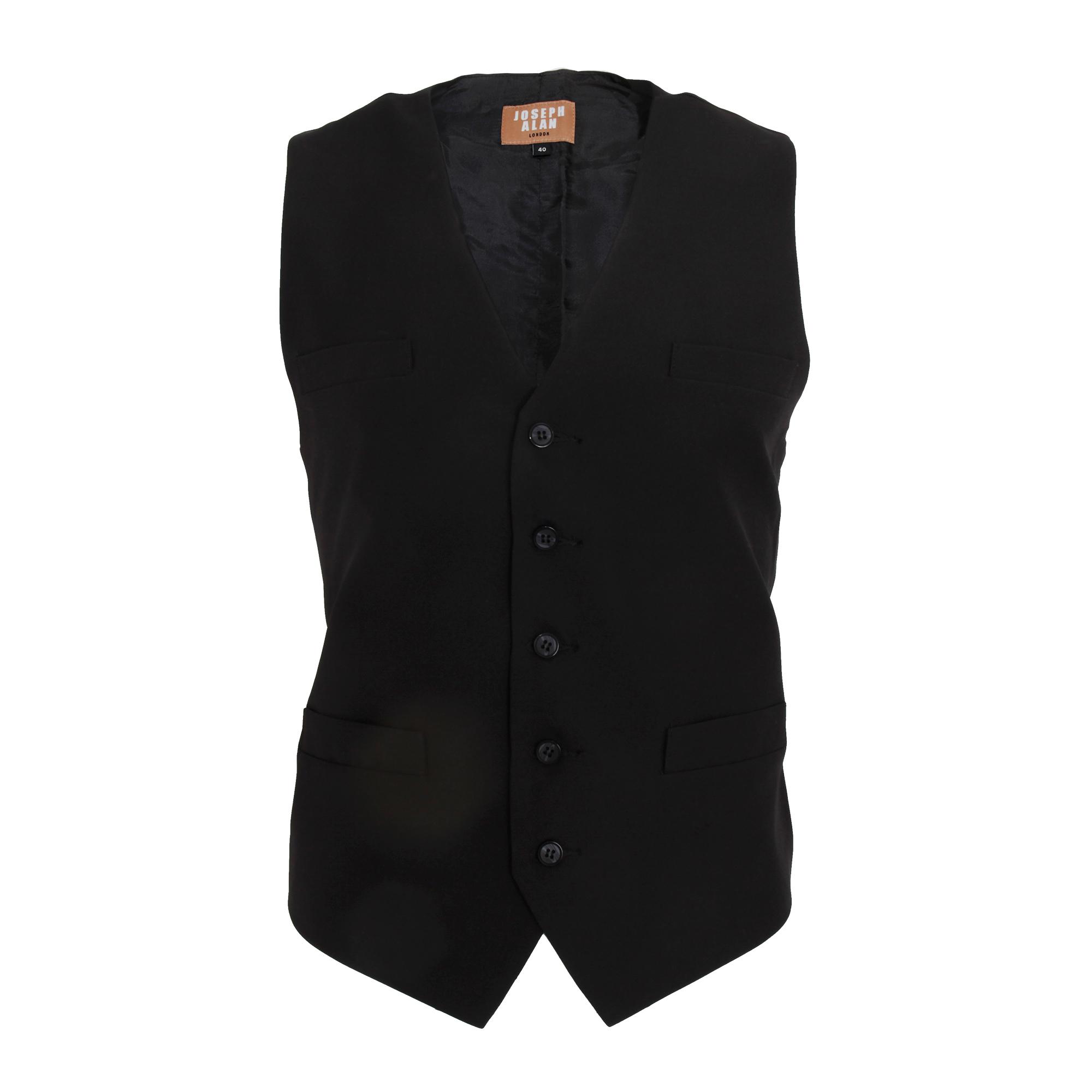 Dennys Joseph Alan Mens Plain Self Back Waistcoat (Pack of 2) (34in Chest) (Black)