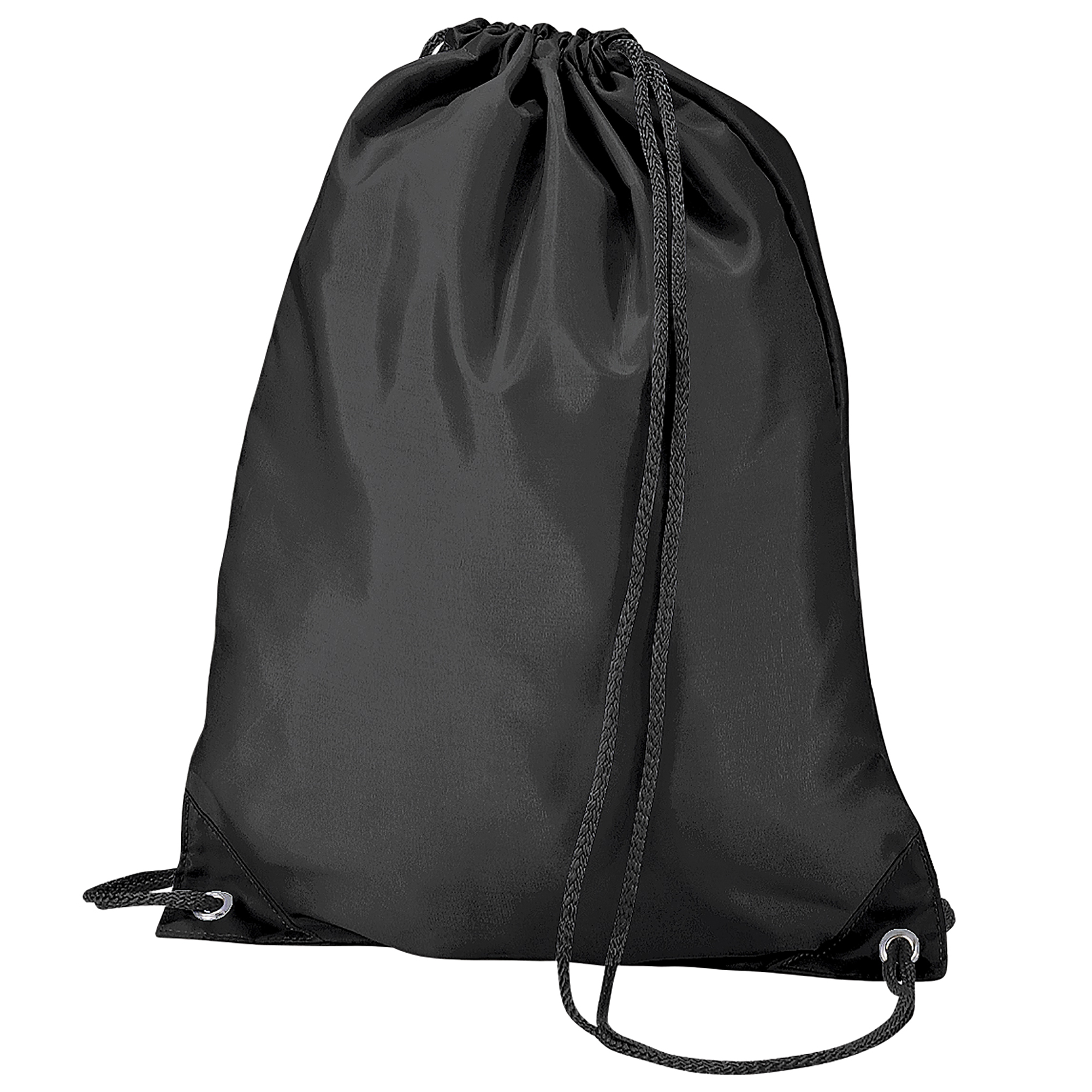 BagBase Budget Water Resistant Sports Gymsac Drawstring Bag (11 Litres) (Pack of 2) (One Size) (Black)