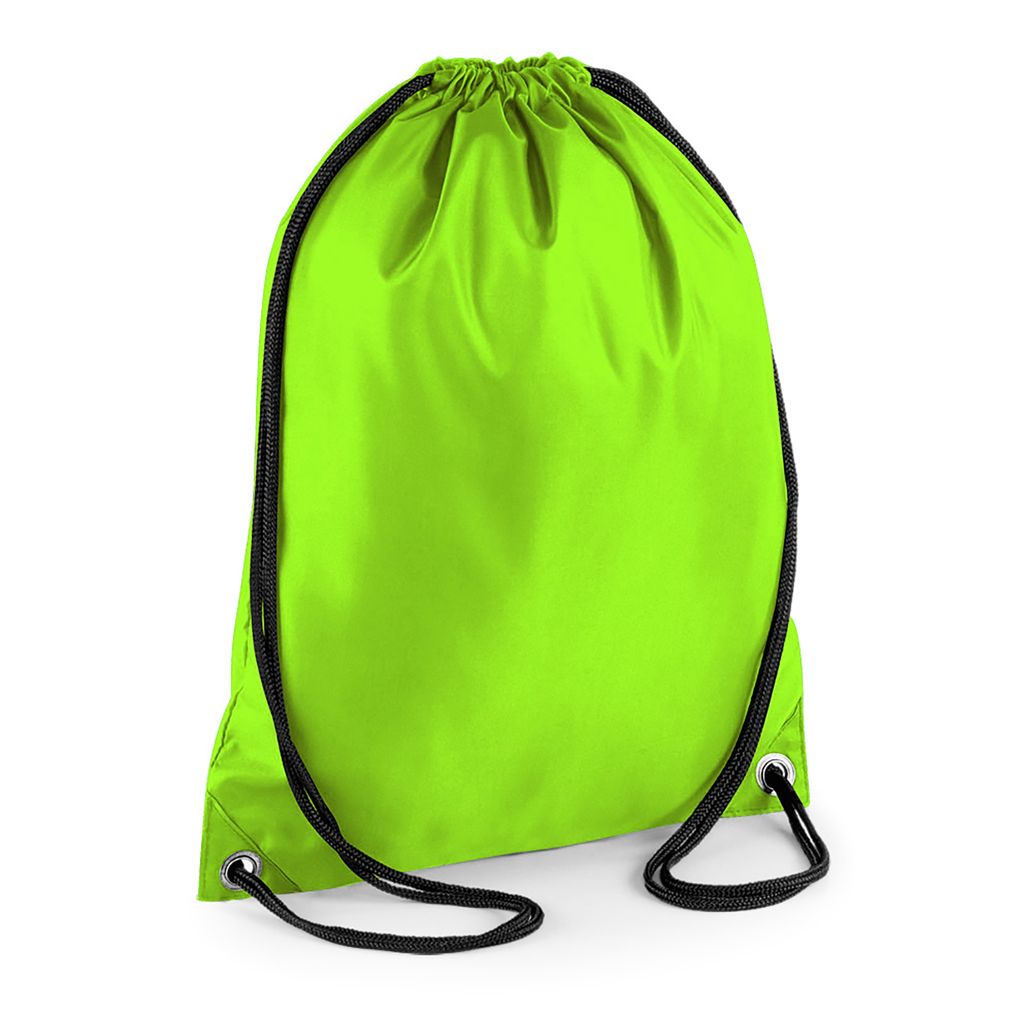 BagBase Budget Water Resistant Sports Gymsac Drawstring Bag (11 Litres) (Pack of 2) (One Size) (Lime)