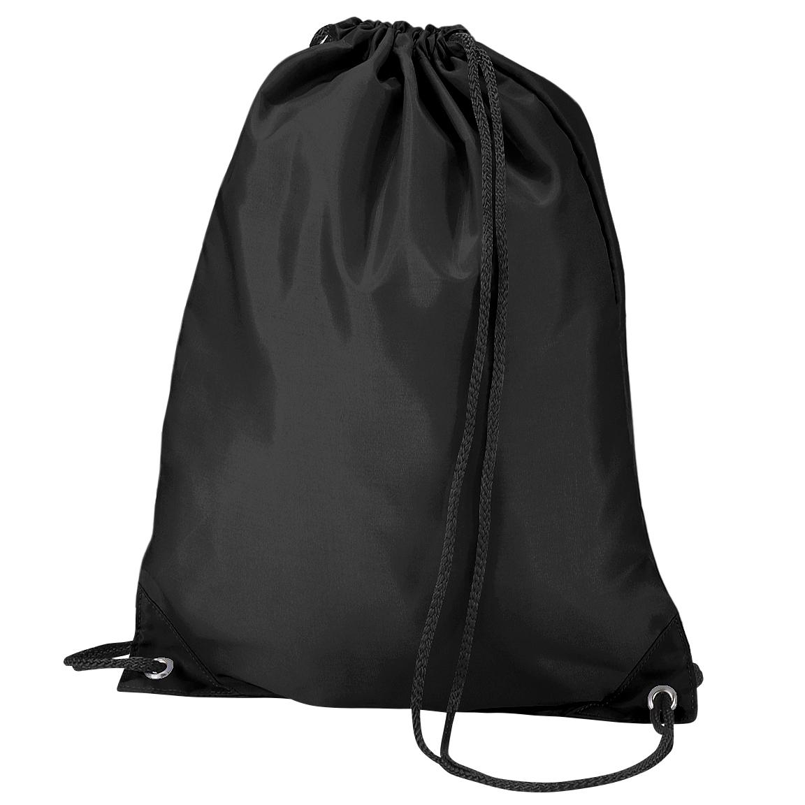 Quadra Gymsac Shoulder Carry Bag - 7 Litres (Pack of 2) (One Size) (Black)