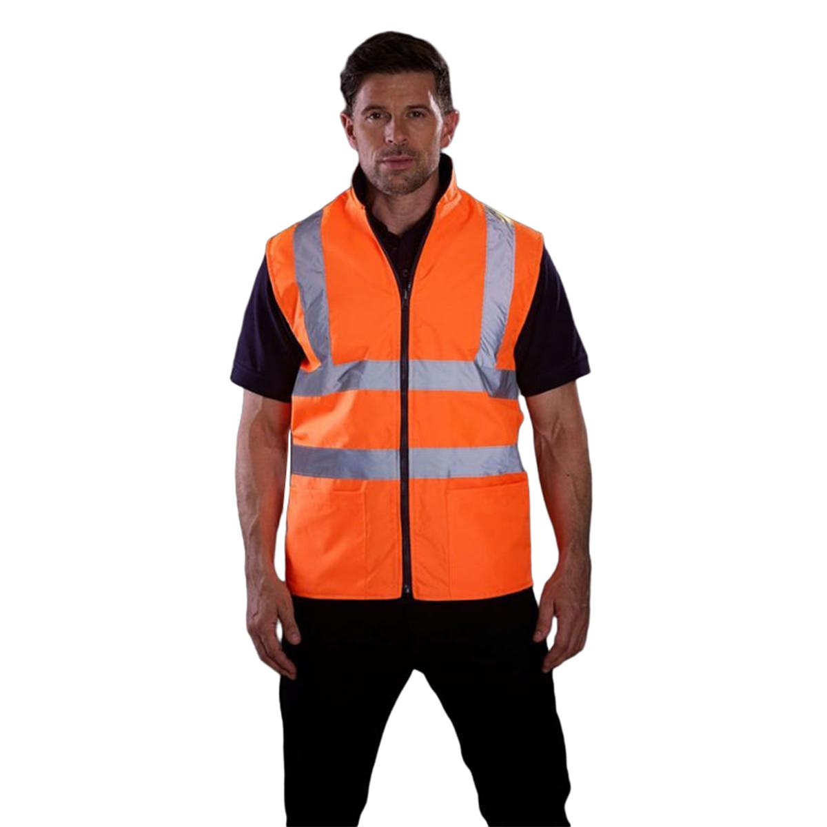 Yoko Mens Workwear Hi-Vis Reversible Fleece Vest / Jacket (Pack of 2) (S) (Hi-Vis Yellow)