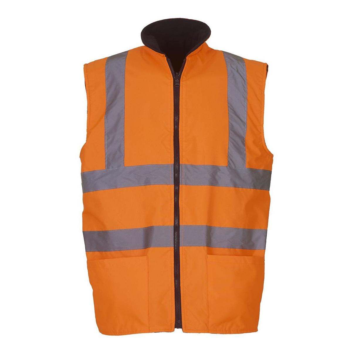 Yoko Mens Workwear Hi-Vis Reversible Fleece Vest / Jacket (Pack of 2) (2XL) (Hi Vis Orange)