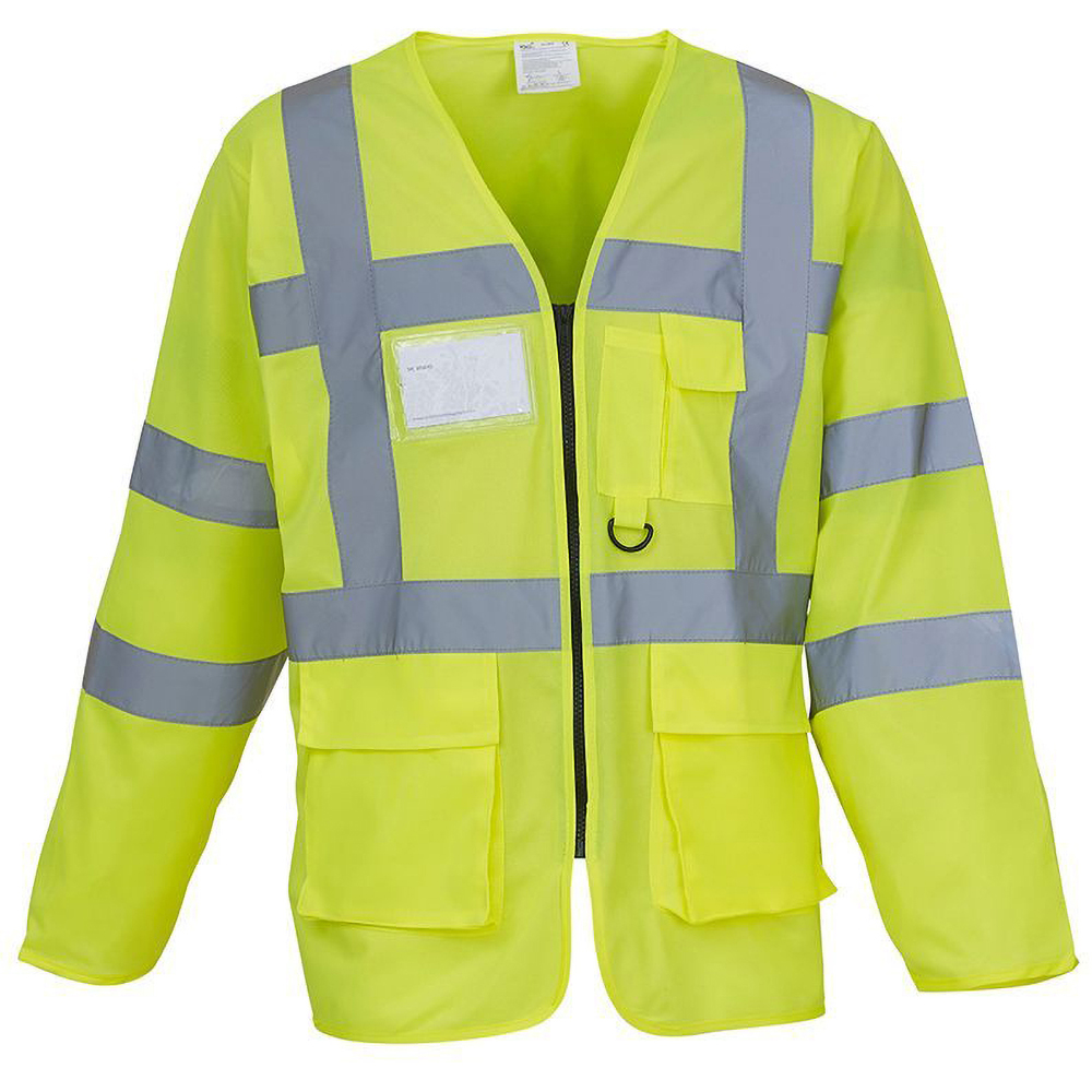 Yoko Mens Executive Hi-Vis Long Sleeve Safety Waistcoat (Pack of 2) (M) (Hi-Vis Yellow)