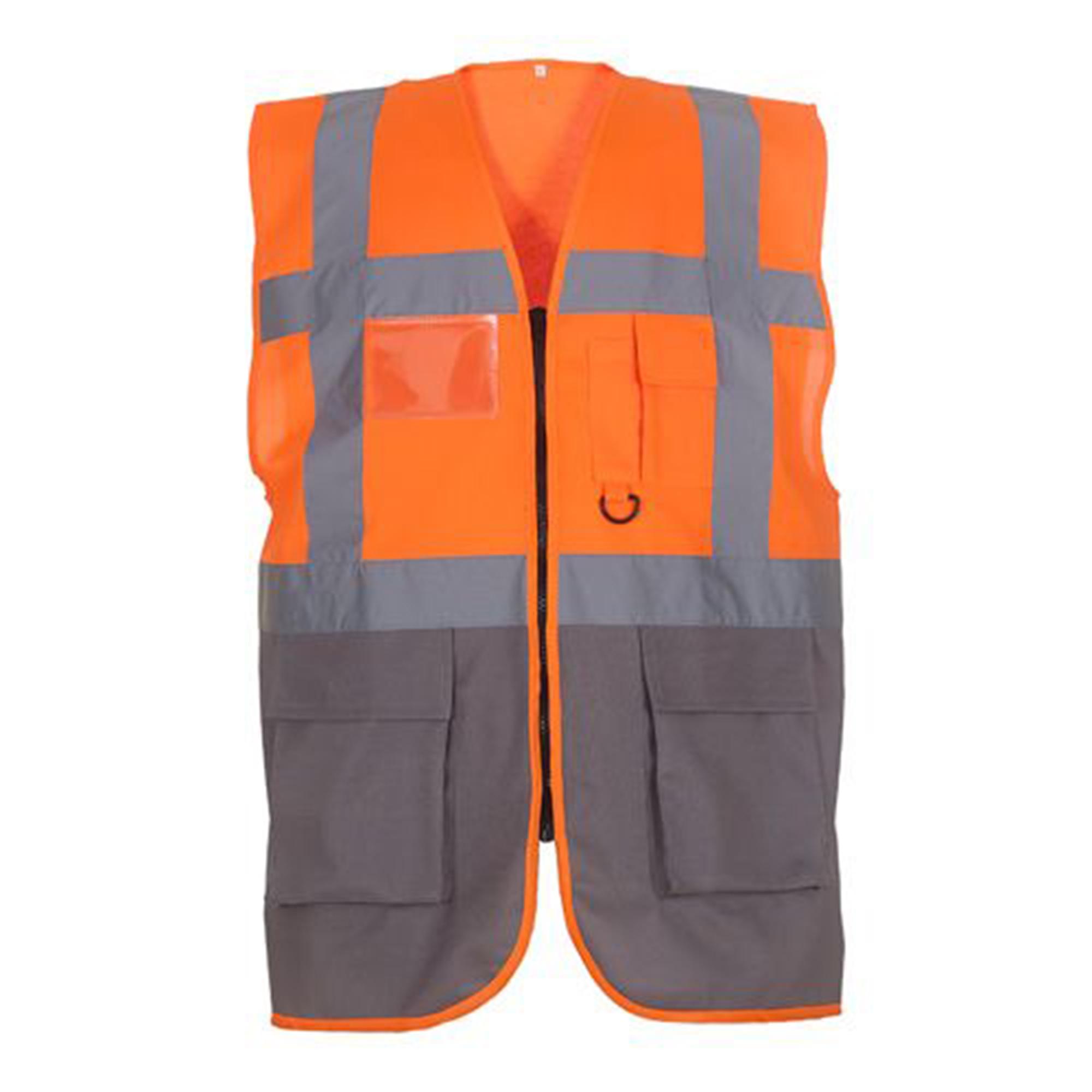 Yoko Hi-Vis Premium Executive/Manager Waistcoat / Jacket (Pack of 2) (3XL) (Hi Vis Yellow/Navy)