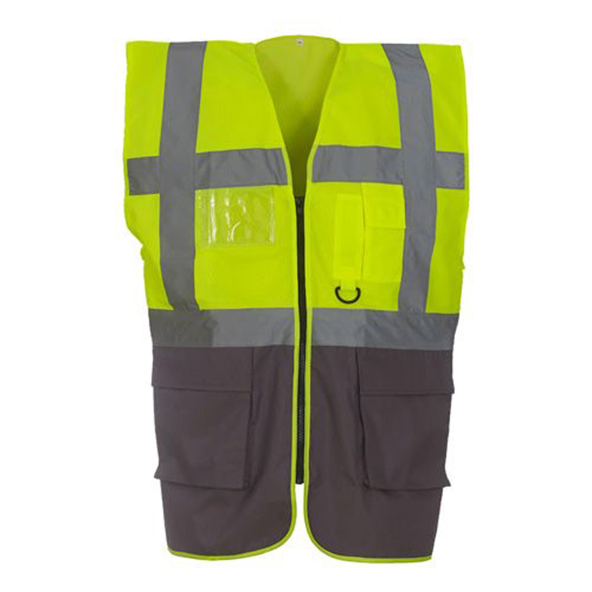 Yoko Hi-Vis Premium Executive/Manager Waistcoat / Jacket (Pack of 2) (3XL) (Orange/Navy)
