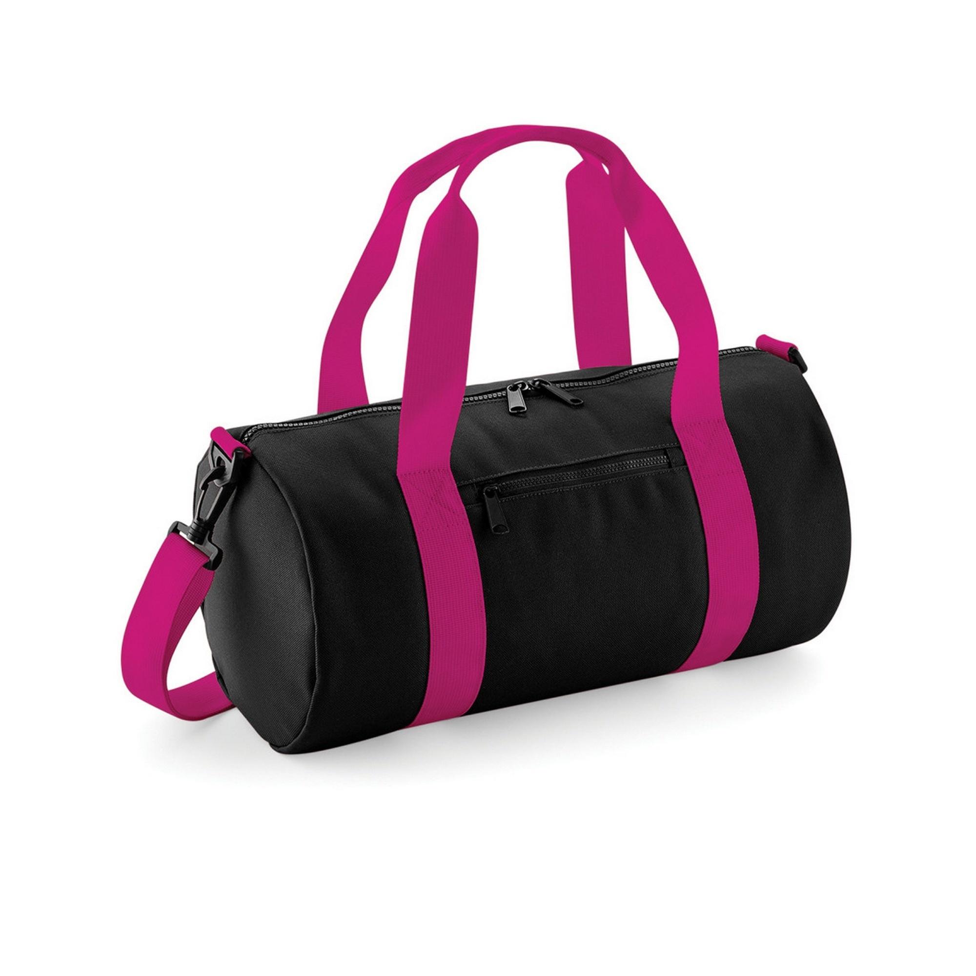 Bagbase Mini Barrel Shoulder Bag (Pack of 2) (One Size) (Black/Fuchia)