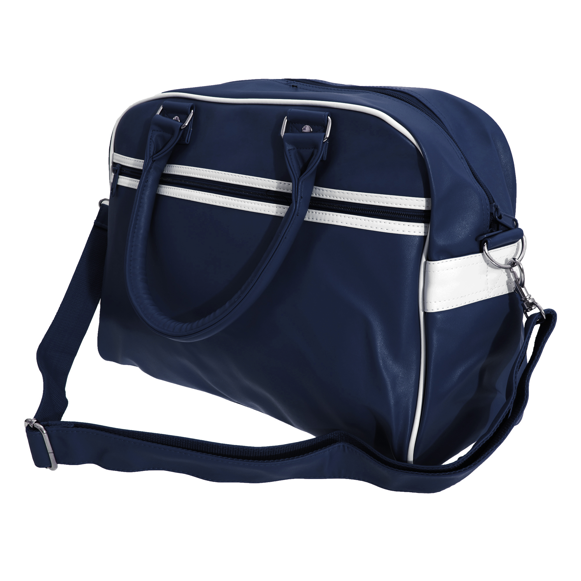Bagbase Original Retro Shoulder Strap Bowling Bag (Pack of 2) (One Size) (French Navy/White)