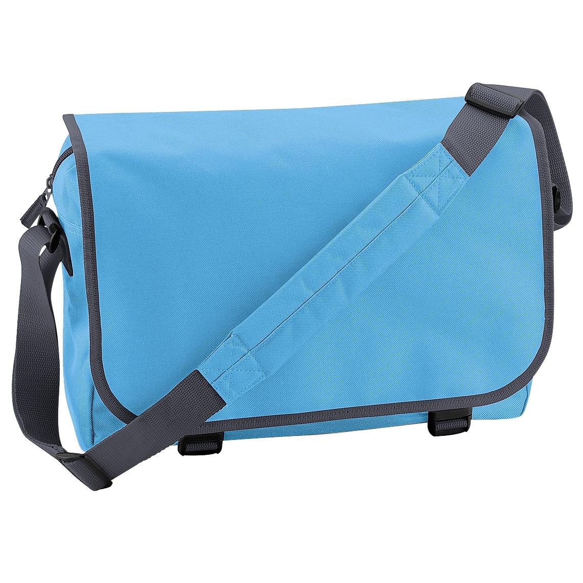 Bagbase Adjustable Messenger Bag (11 Litres) (Pack of 2) (One Size) (Surf Blue/ Graphite Grey)
