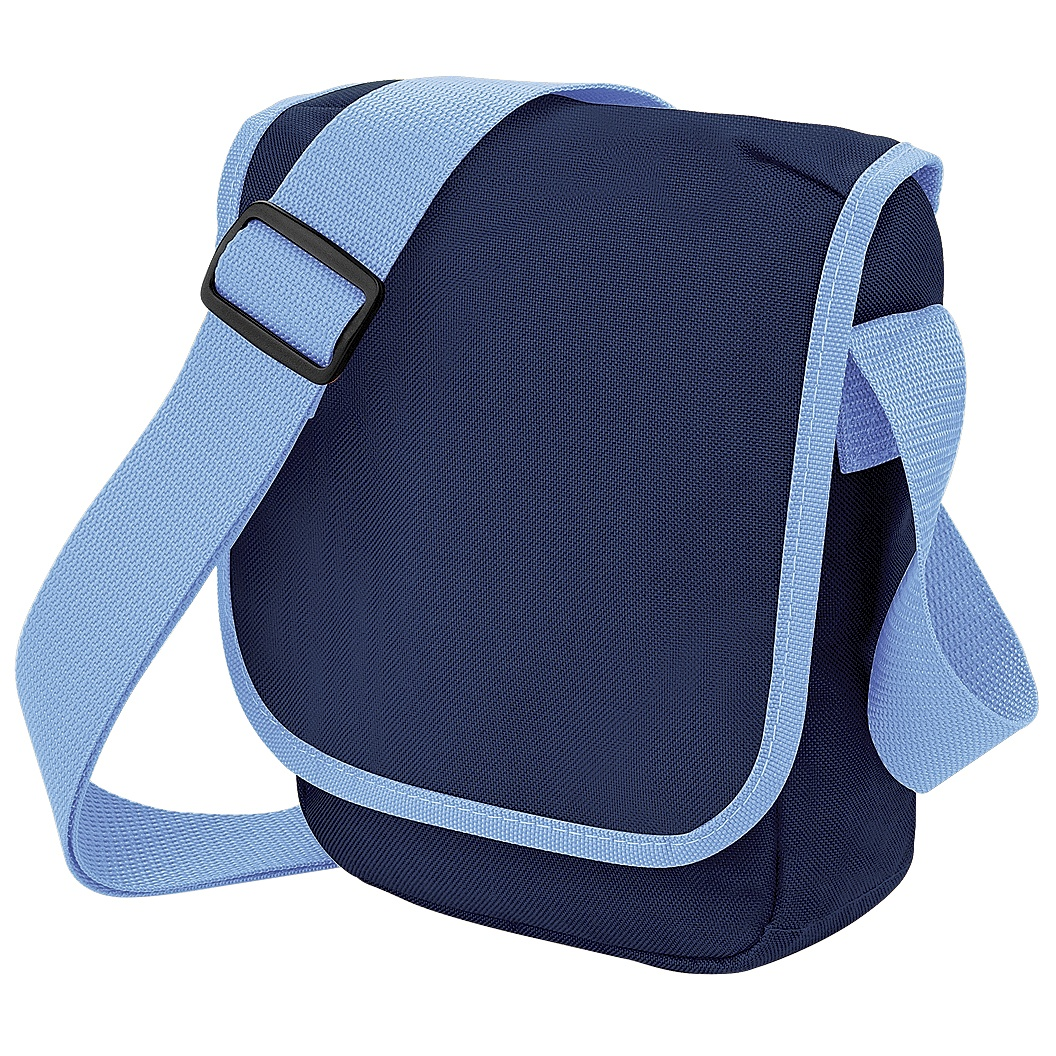 Bagbase Mini Adjustable Reporter / Messenger Bag (2 Litres) (Pack of 2) (One Size) (French Navy/Sky Blue)