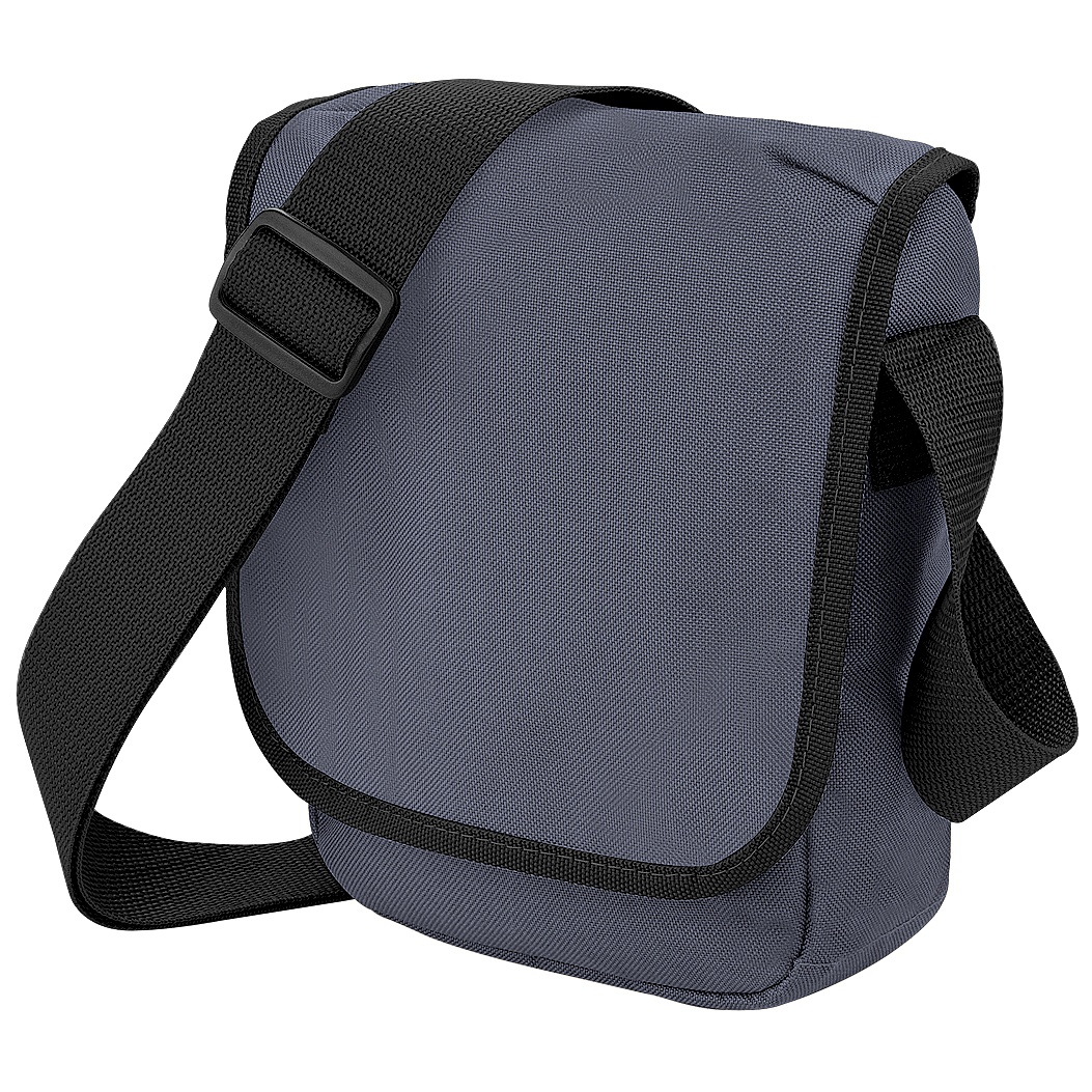Bagbase Mini Adjustable Reporter / Messenger Bag (2 Litres) (Pack of 2) (One Size) (Graphite Grey/Black)