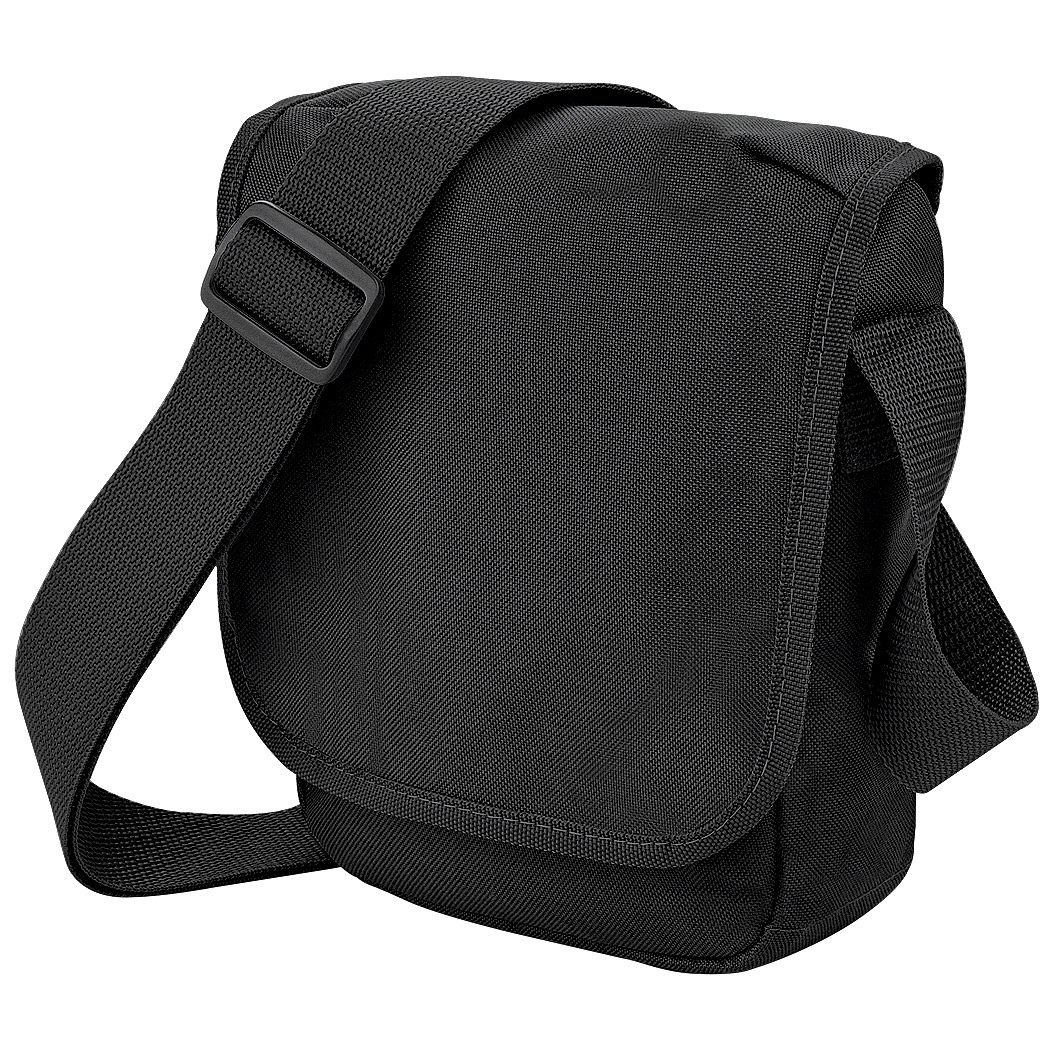 Bagbase Mini Adjustable Reporter / Messenger Bag (2 Litres) (Pack of 2) (One Size) (Black)