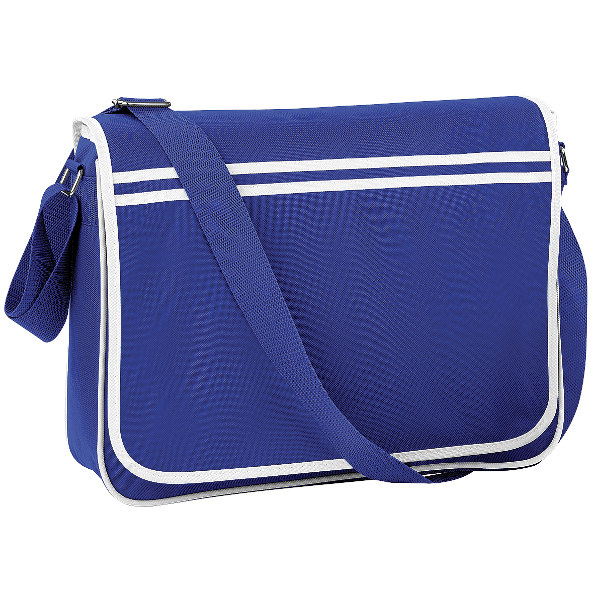Bagbase Retro Adjustable Messenger Bag (12 Litres) (Pack Of 2) (One Size) (Bright Royal/White)