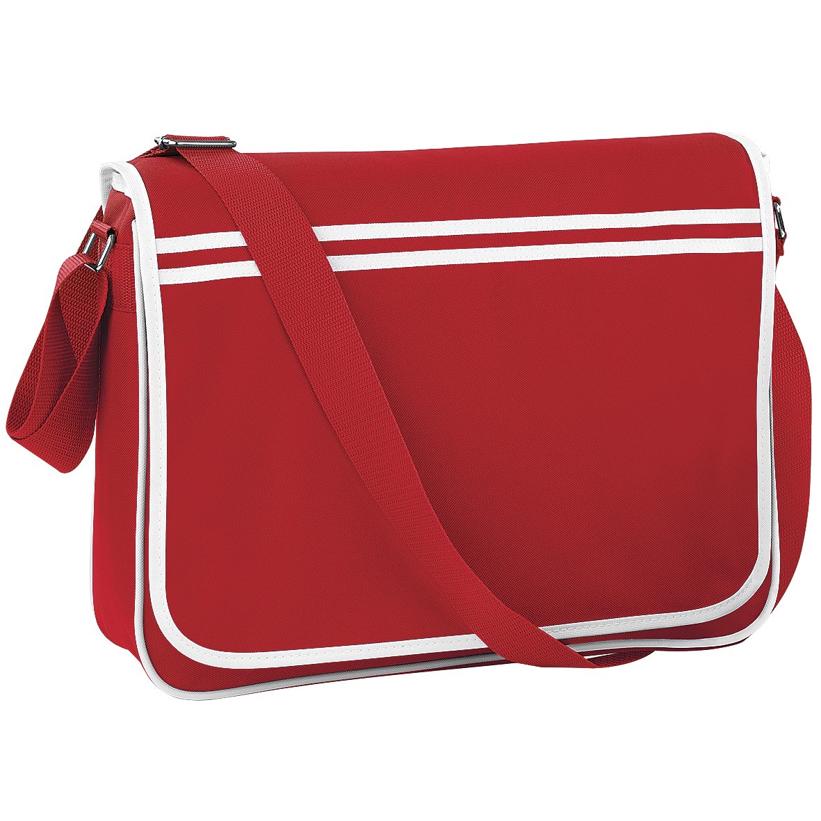 Bagbase Retro Adjustable Messenger Bag (12 Litres) (Pack Of 2) (One Size) (Classic Red/White)