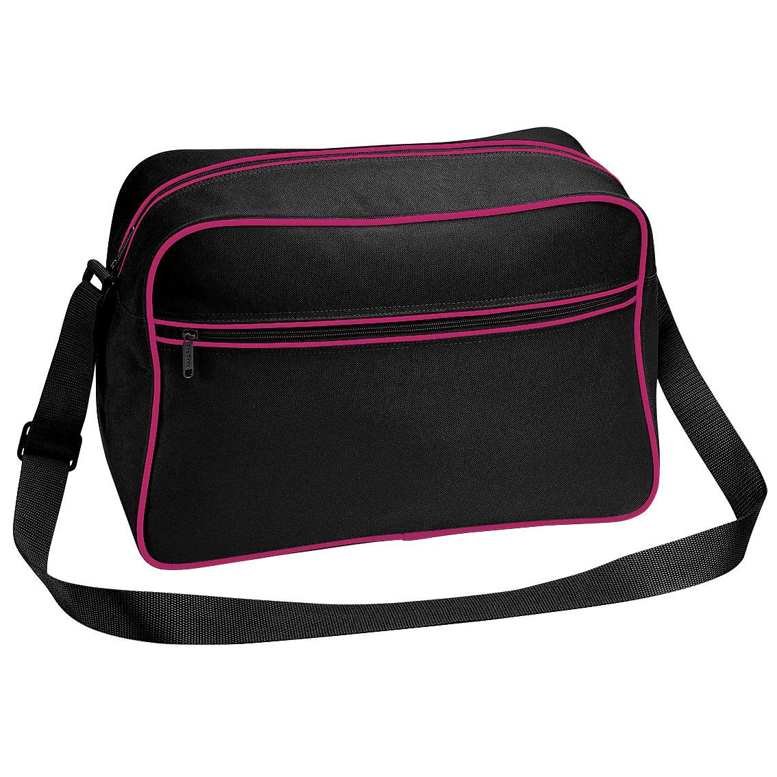 Bagbase Retro Adjustable Shoulder Bag (18 Litres) (Pack of 2) (One Size) (Black/Fuchsia)